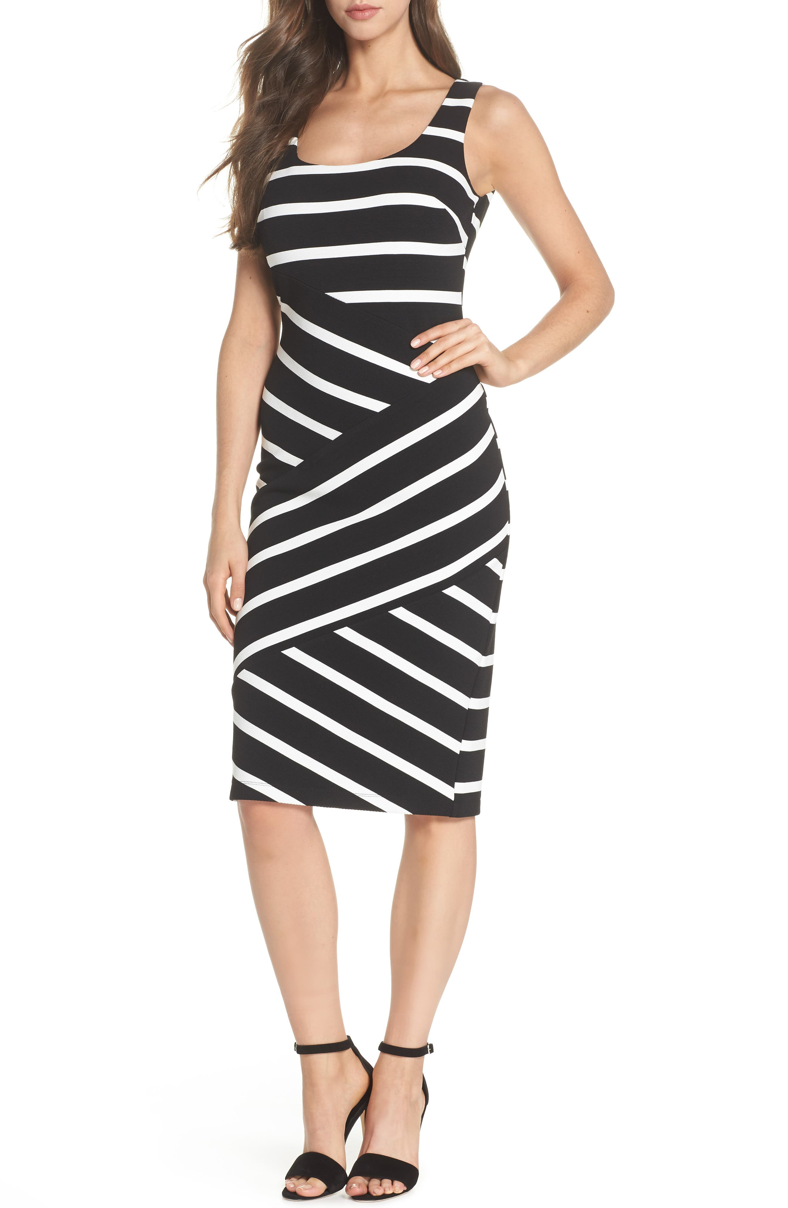 Stripe Ottoman Sheath Dress,                             Main thumbnail 1, color,                             Black/ Ivory