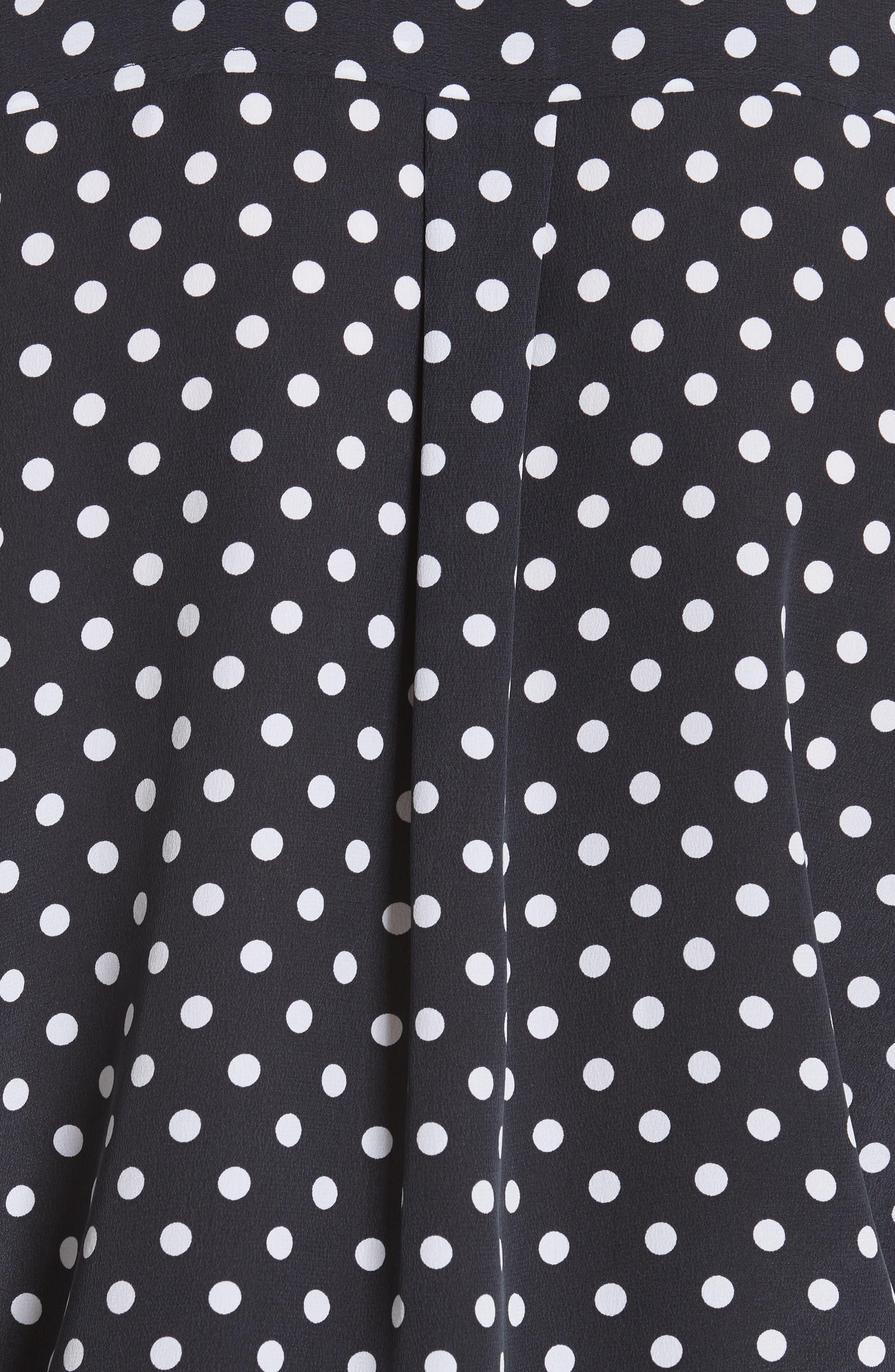 Slim Signature Polka Dot Silk Shirt,                             Alternate thumbnail 5, color,                             Eclipse/ Bright White