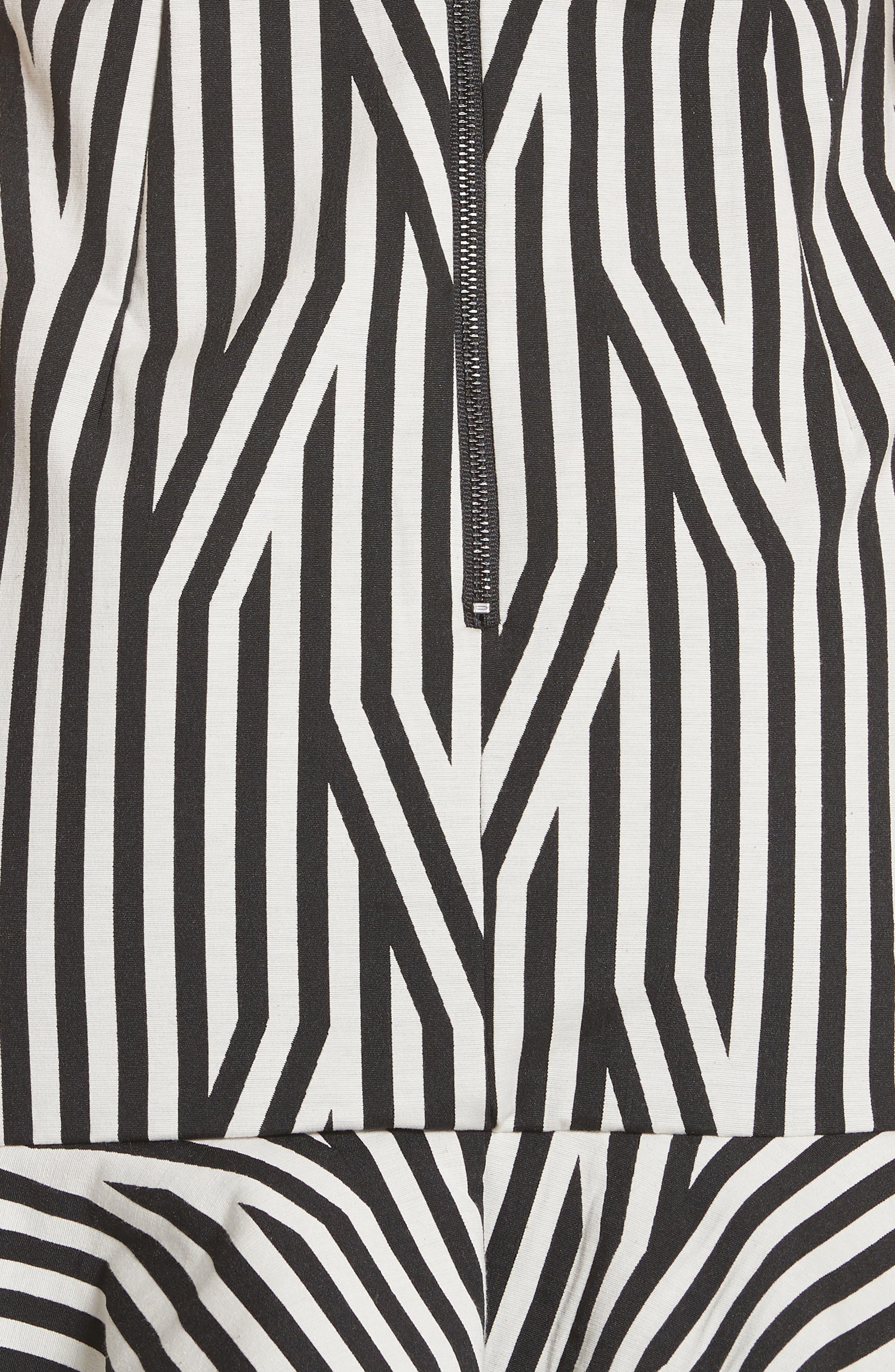 Abstract Stripe Asymmetrical Dress,                             Alternate thumbnail 5, color,                             Black/ White