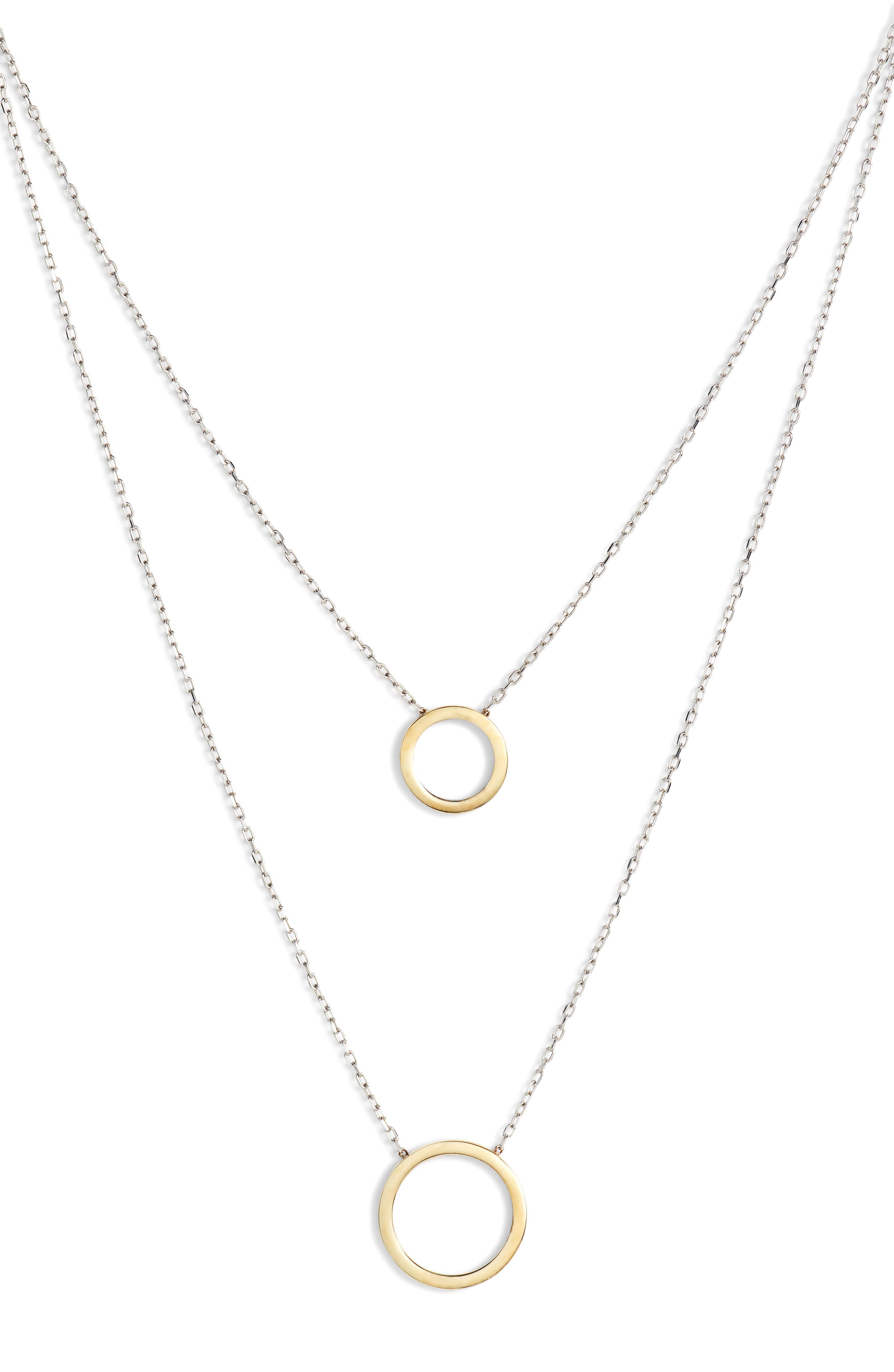 Ava Two Tone Open Circle Necklace,                             Main thumbnail 1, color,                             Gold/ Silver