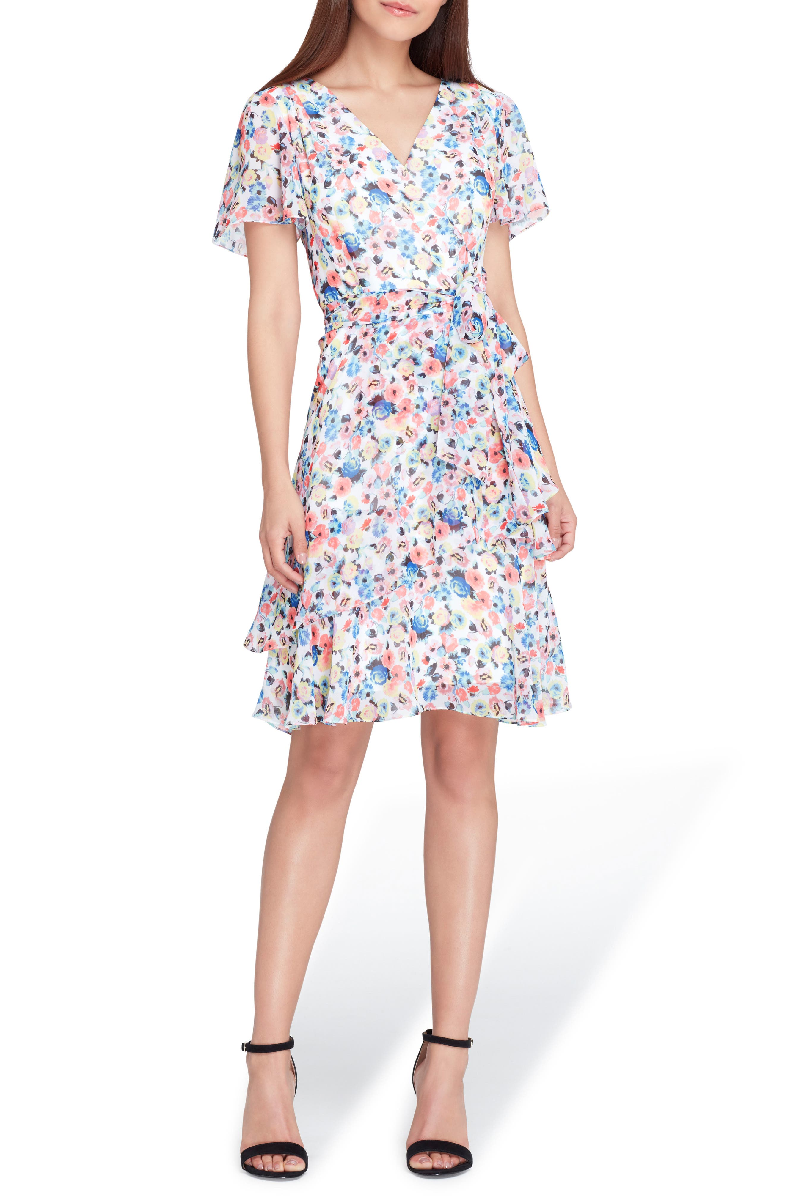 Floral Chiffon Faux Wrap Dress,                             Main thumbnail 1, color,                             White/ Coral/ Royal