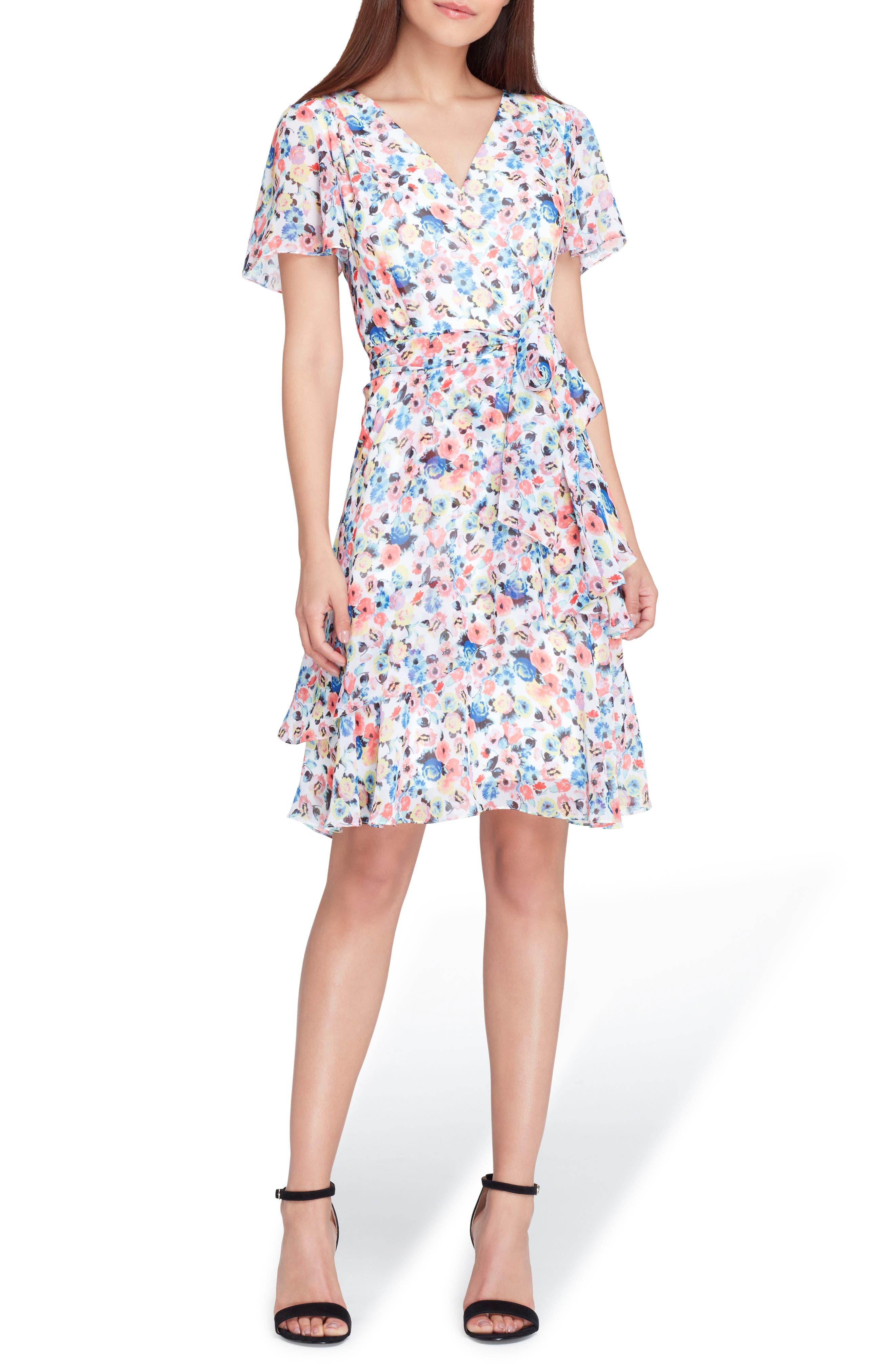 Floral Chiffon Faux Wrap Dress,                         Main,                         color, White/ Coral/ Royal