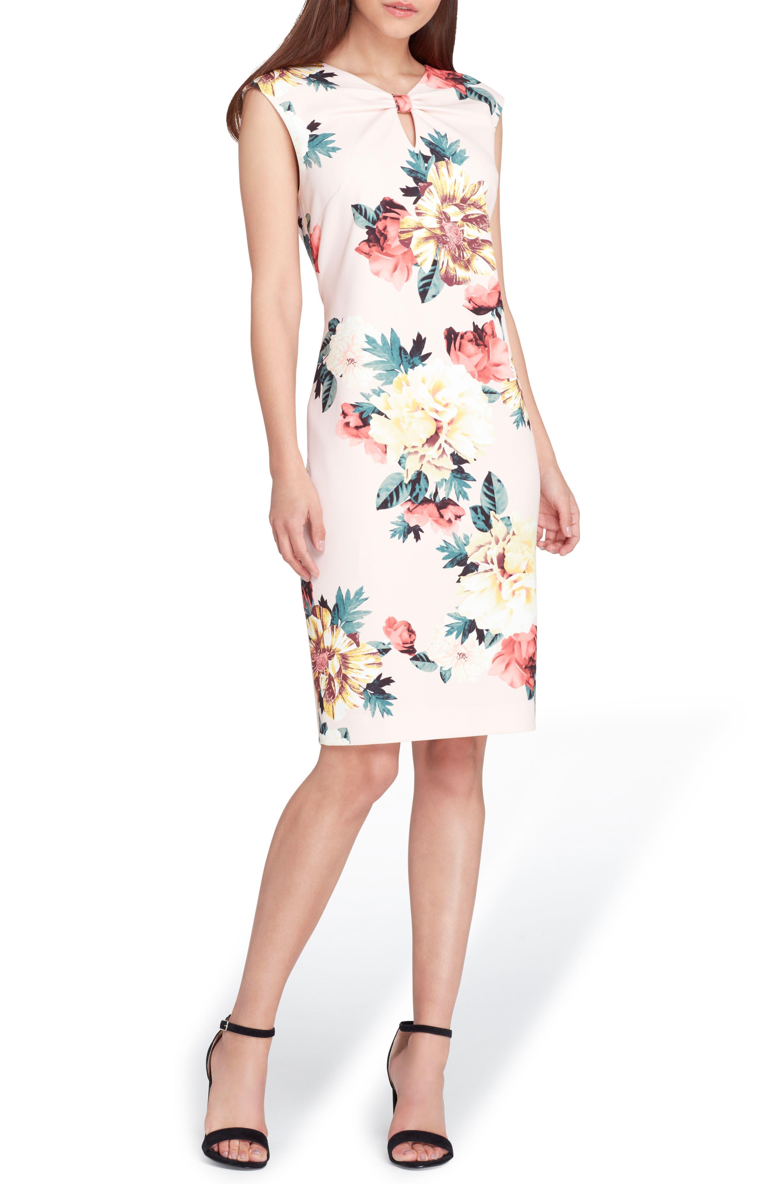 Floral Scuba Crepe Sheath Dress,                             Main thumbnail 1, color,                             Blush/ Lemon/ Coral