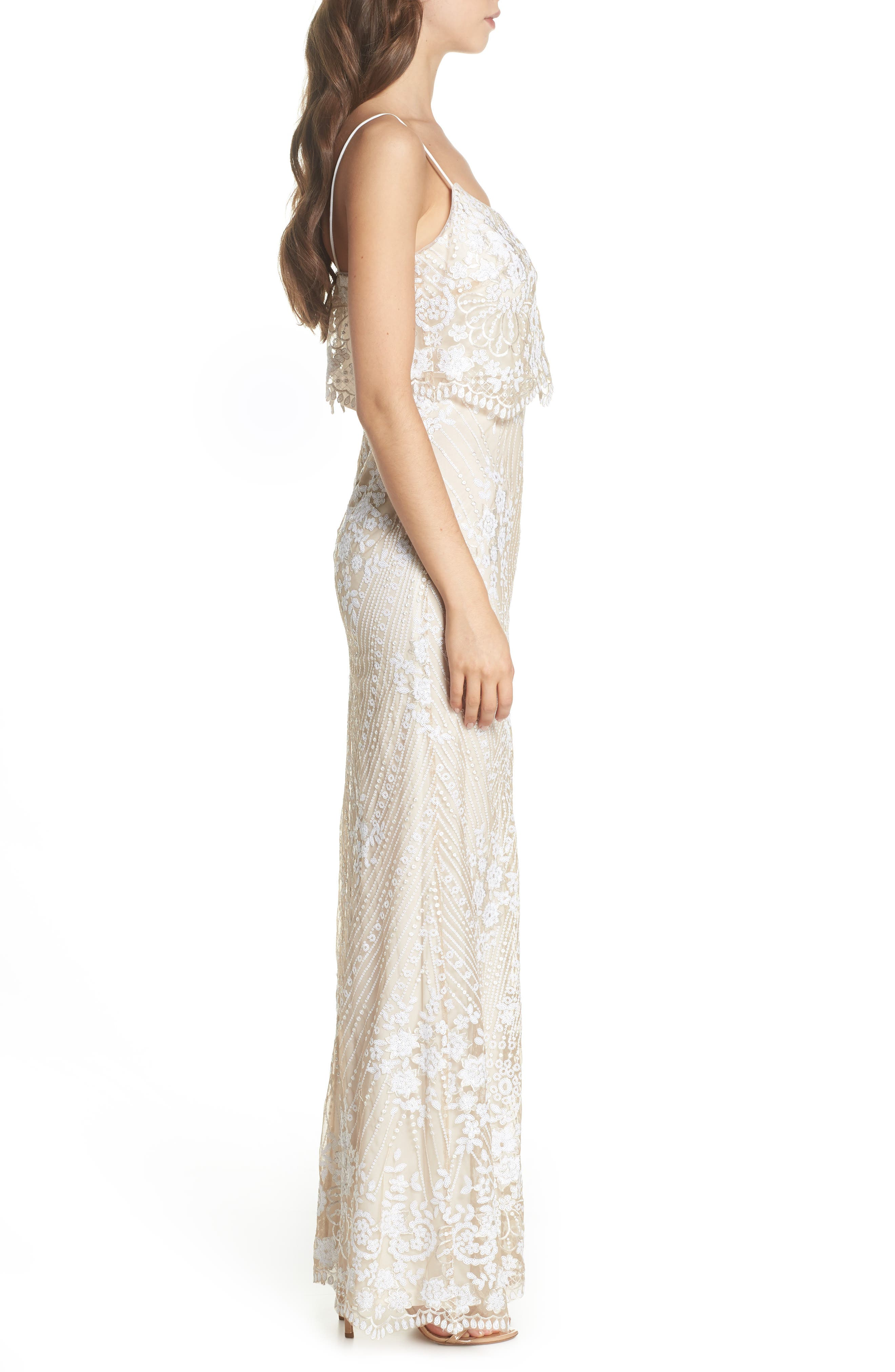 Sequin Popover Mermaid Gown,                             Alternate thumbnail 3, color,                             Pearl