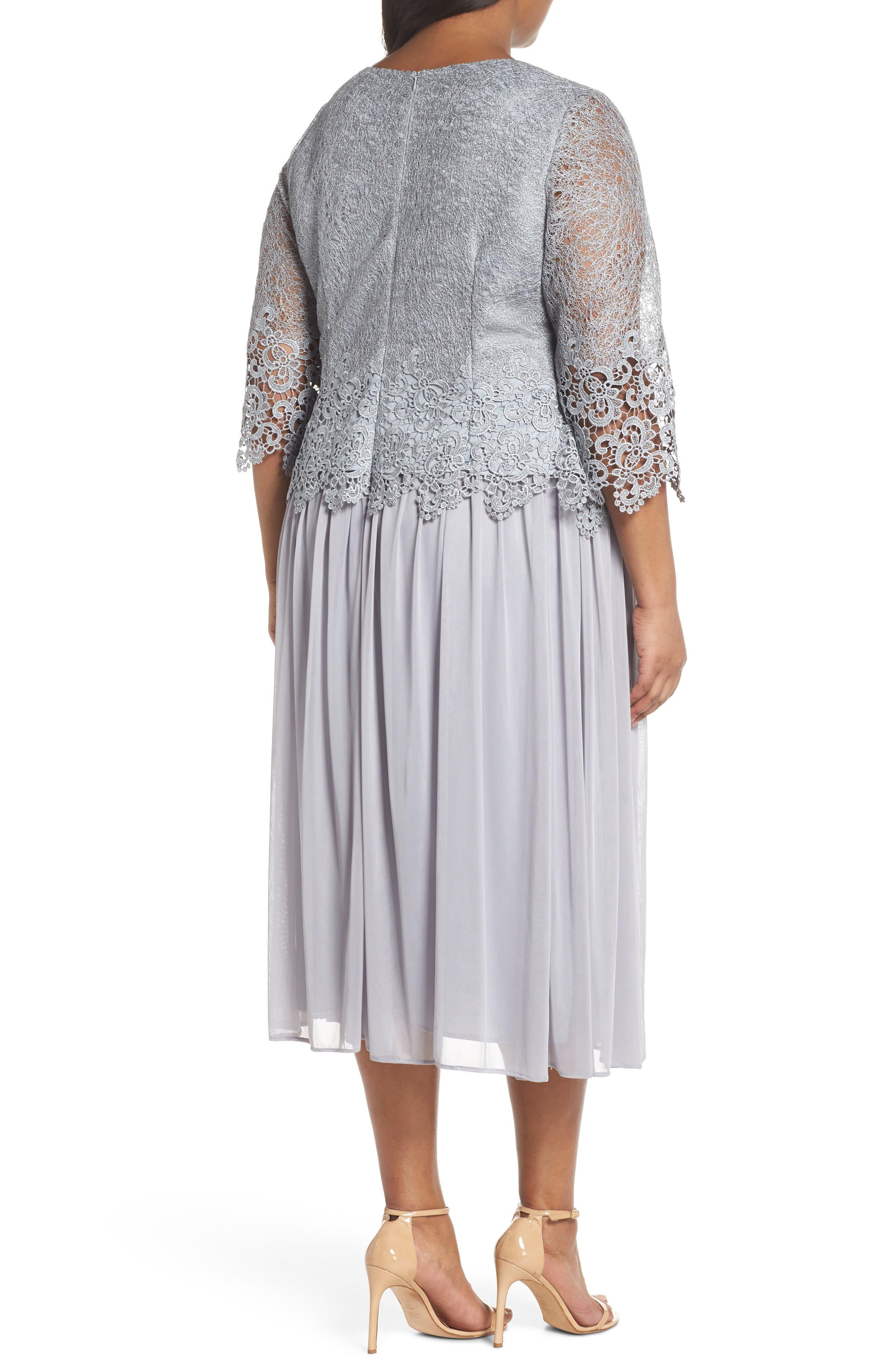 Lace & Chiffon Tea Length Dress,                             Alternate thumbnail 2, color,                             Silver