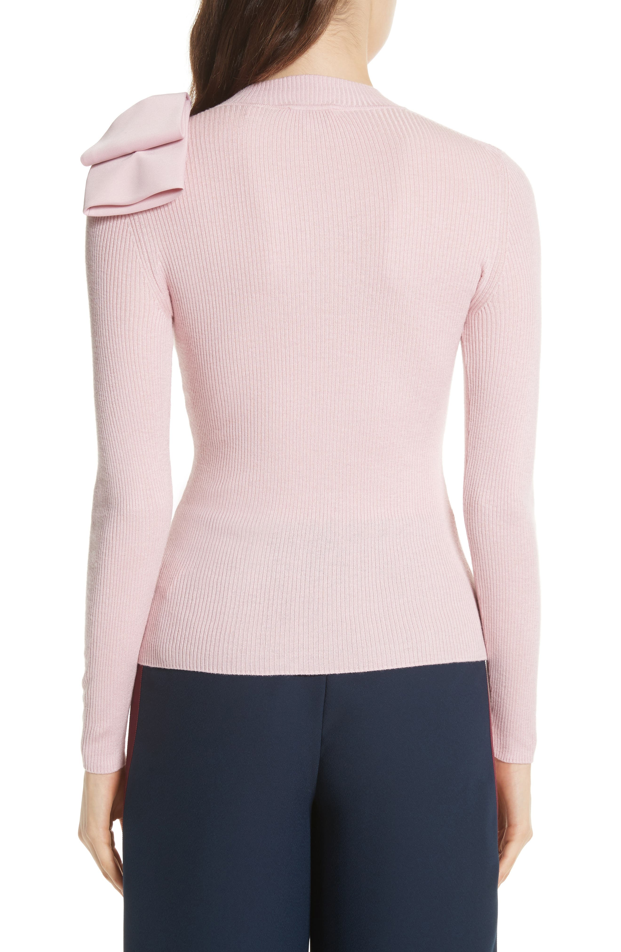 Bow Detail Ribbed Sweater,                             Alternate thumbnail 2, color,                             Dusky Pink
