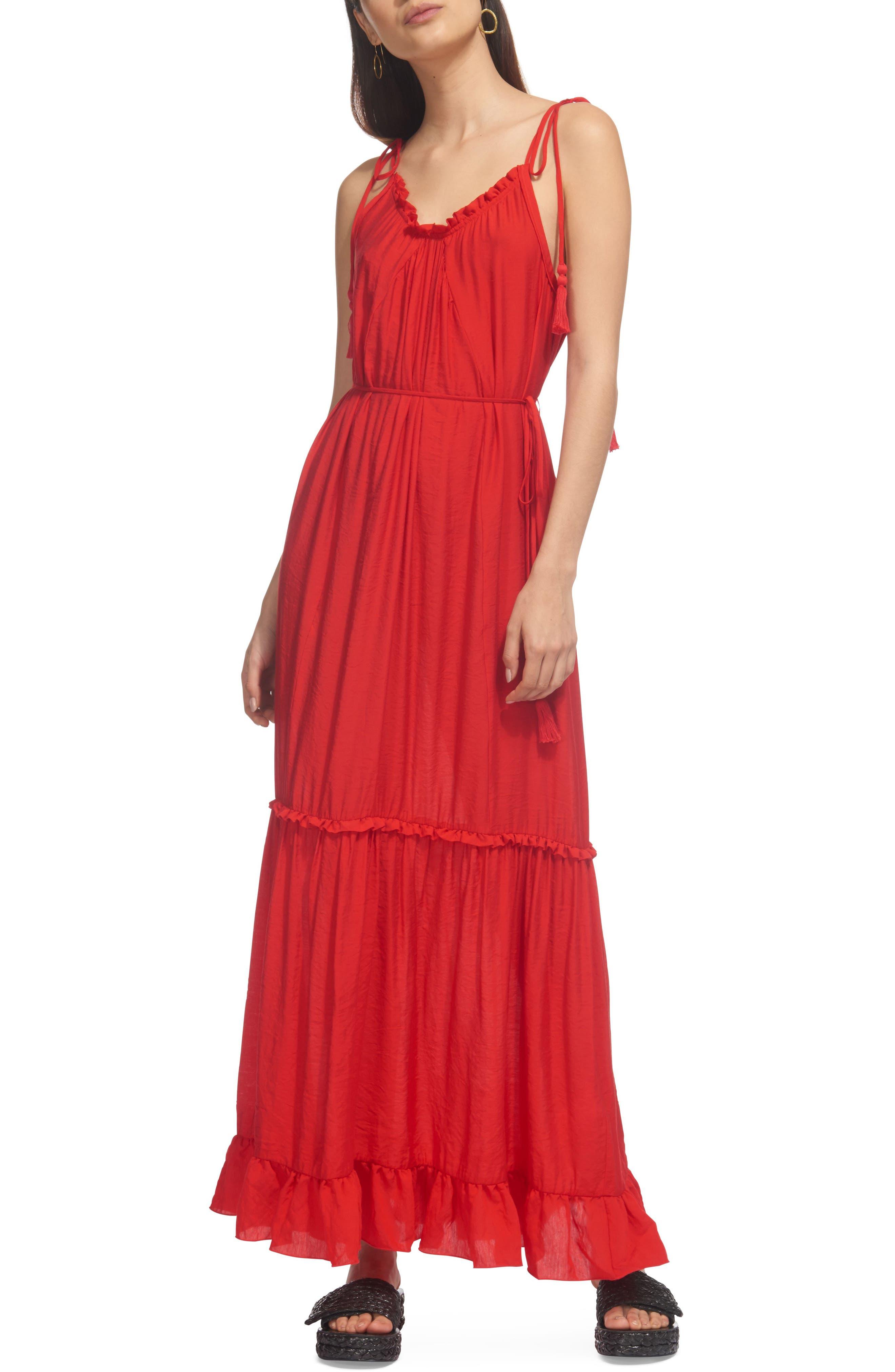 Tassel Tie Maxi Dress,                         Main,                         color, Red