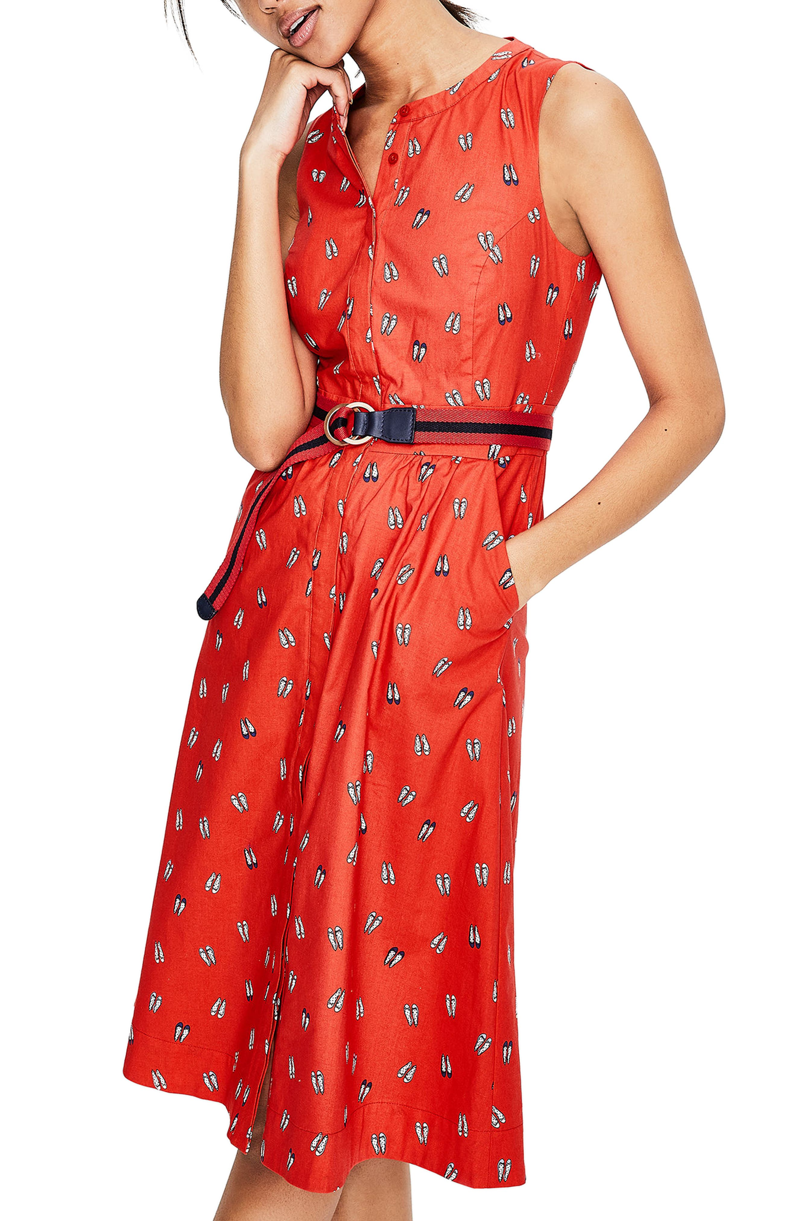 Collarless Stretch Cotton Printed Shirtdress,                         Main,                         color, Rosehip Ballet Slippers