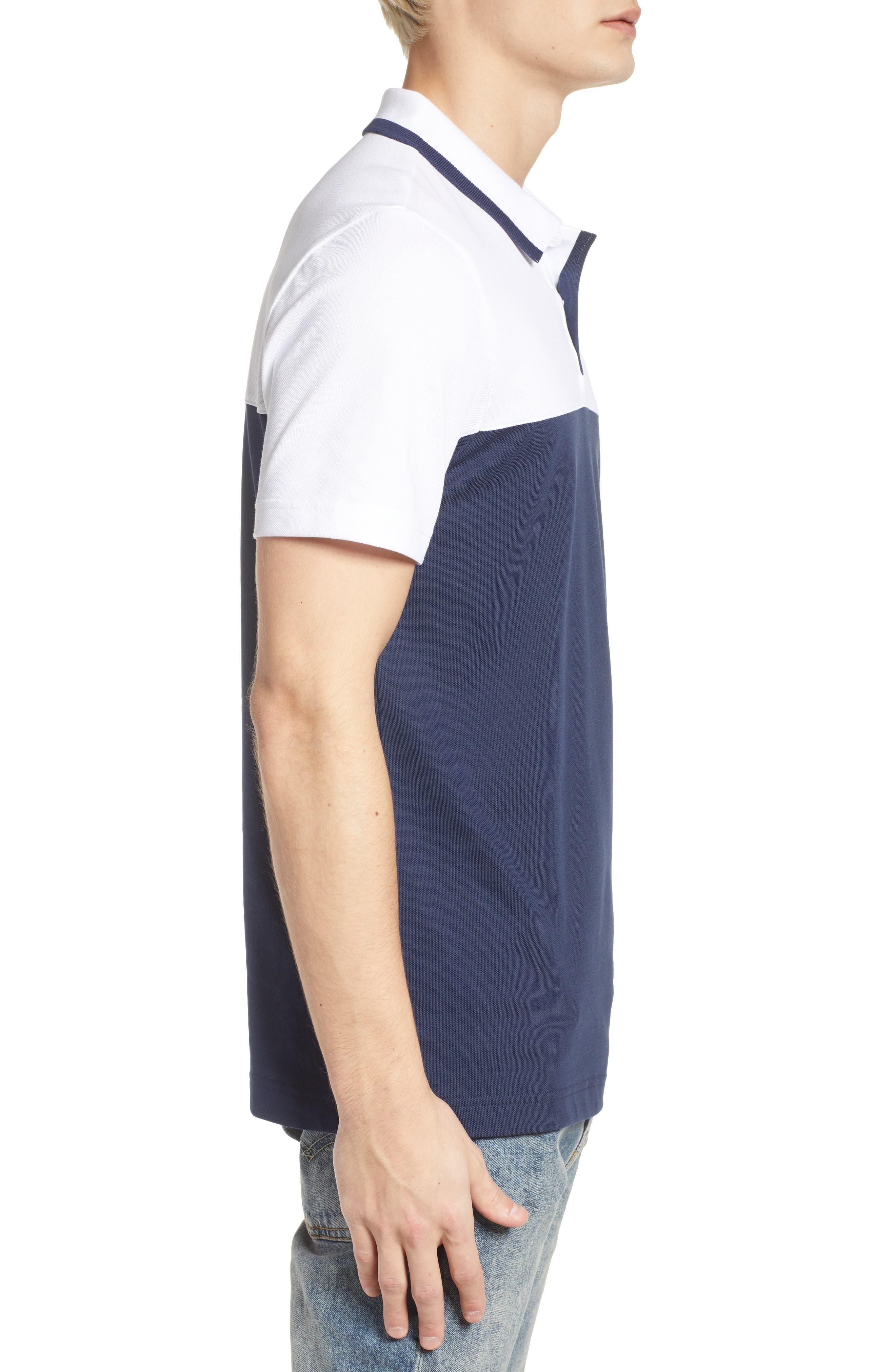 Piqué Cotton Blend Polo,                             Alternate thumbnail 3, color,                             White/ Navy Blue