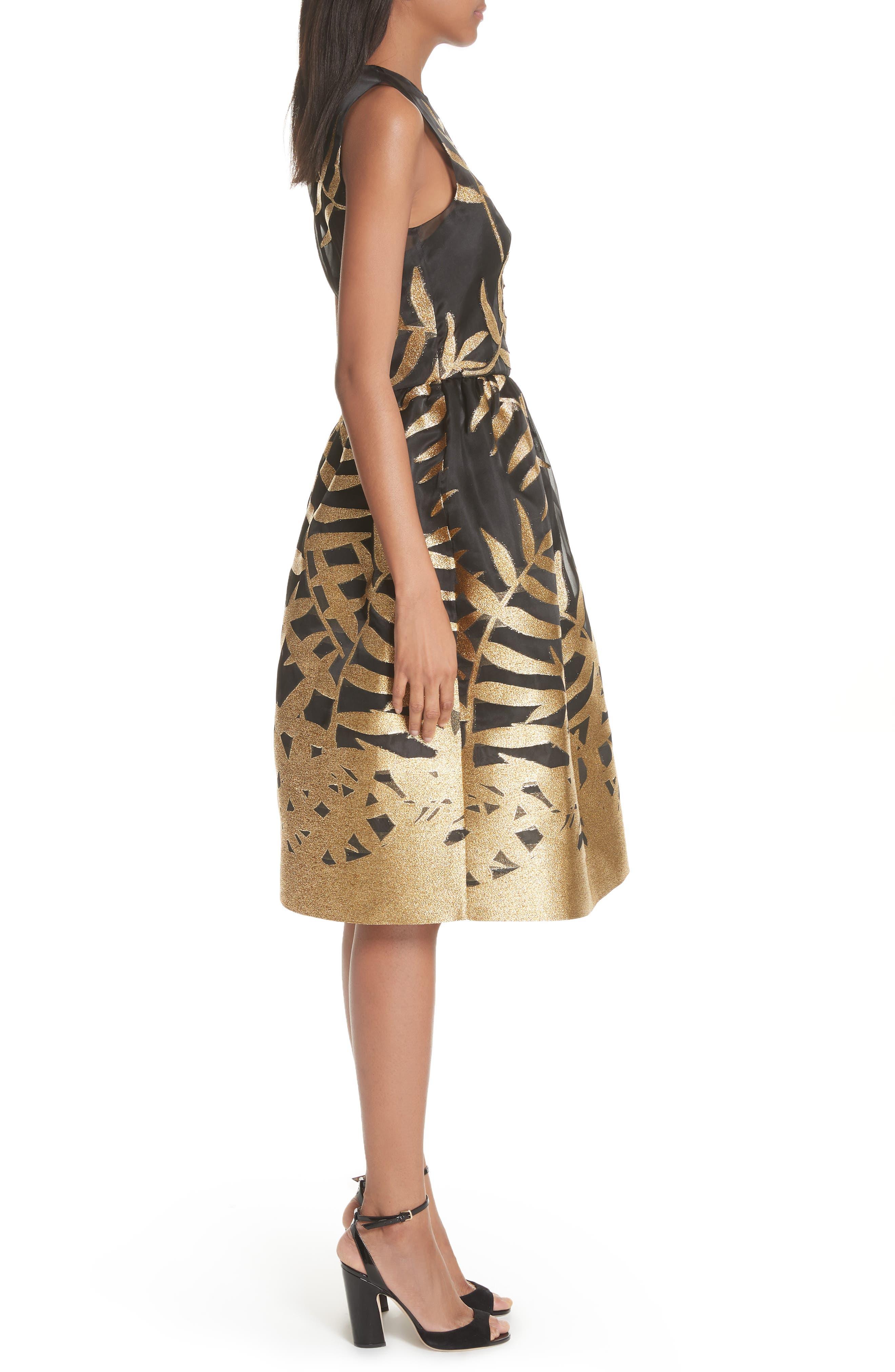 Alternate Image 3  - Oscar de la Renta Glitter Fil Coupé Dress