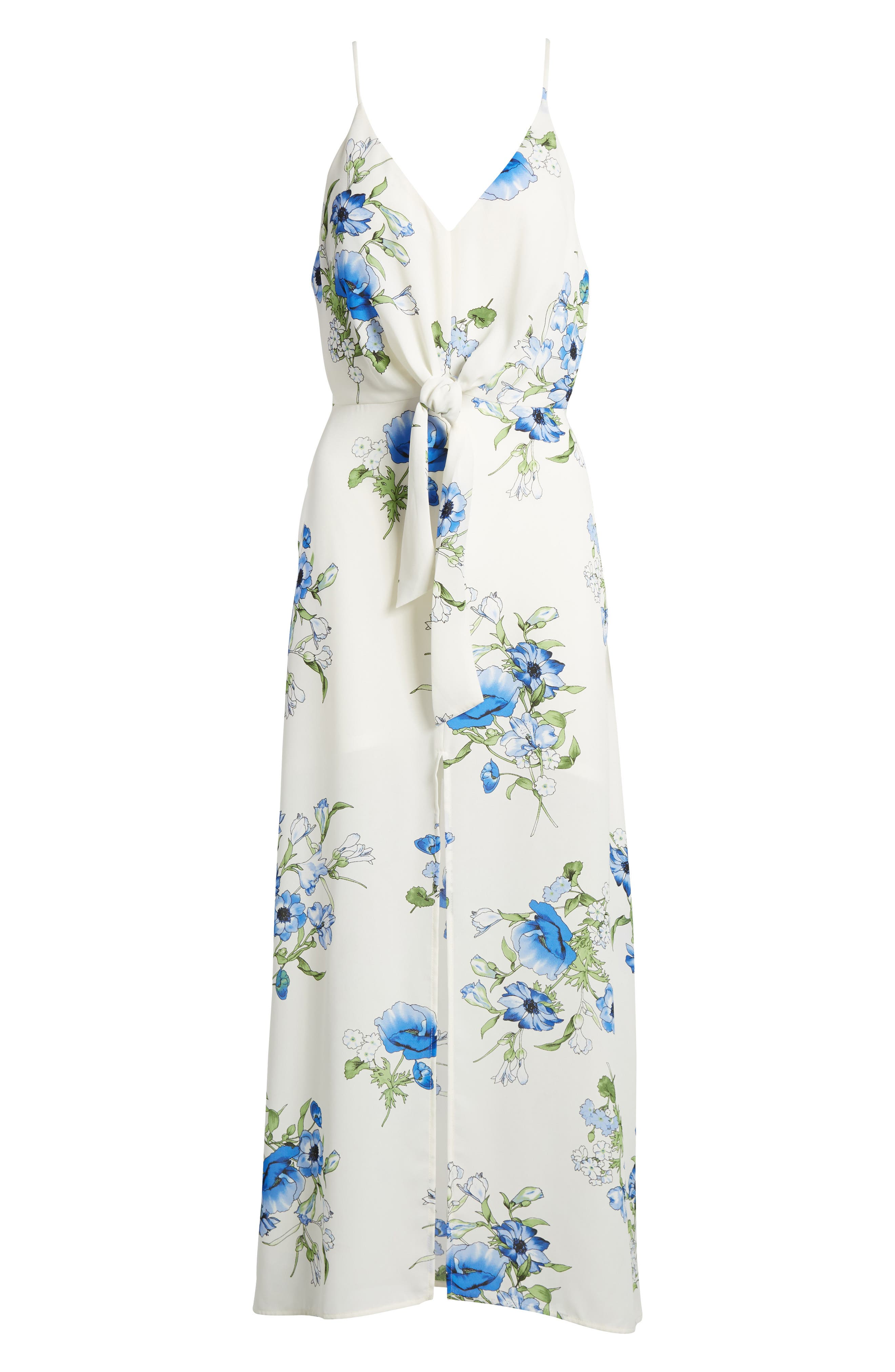 Floral Print Maxi Dress,                             Alternate thumbnail 6, color,                             Ivory Floral