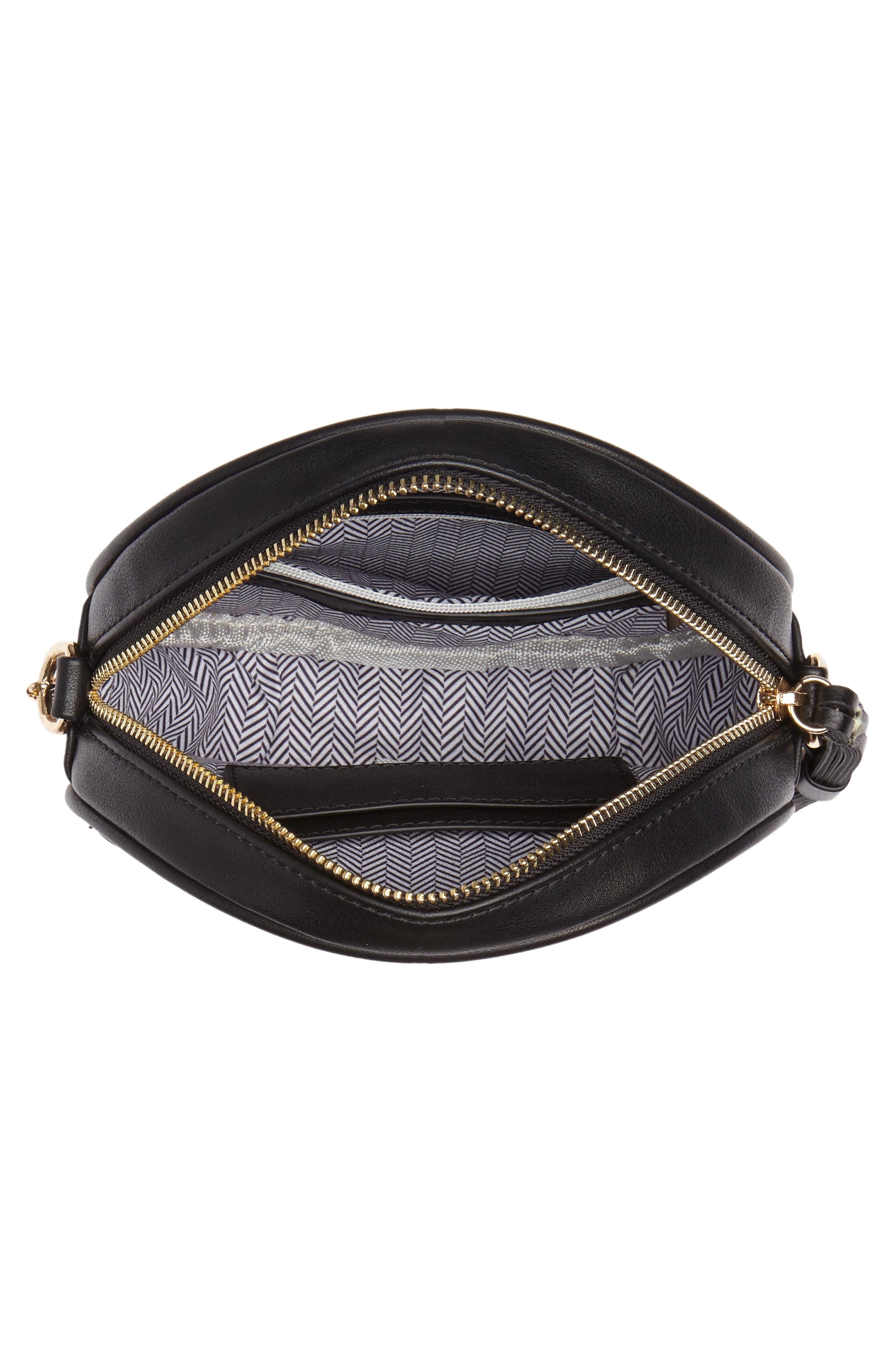 Mali + Lili Payton Vegan Leather Canteen Crossbody Bag,                             Alternate thumbnail 4, color,                             Black/ White