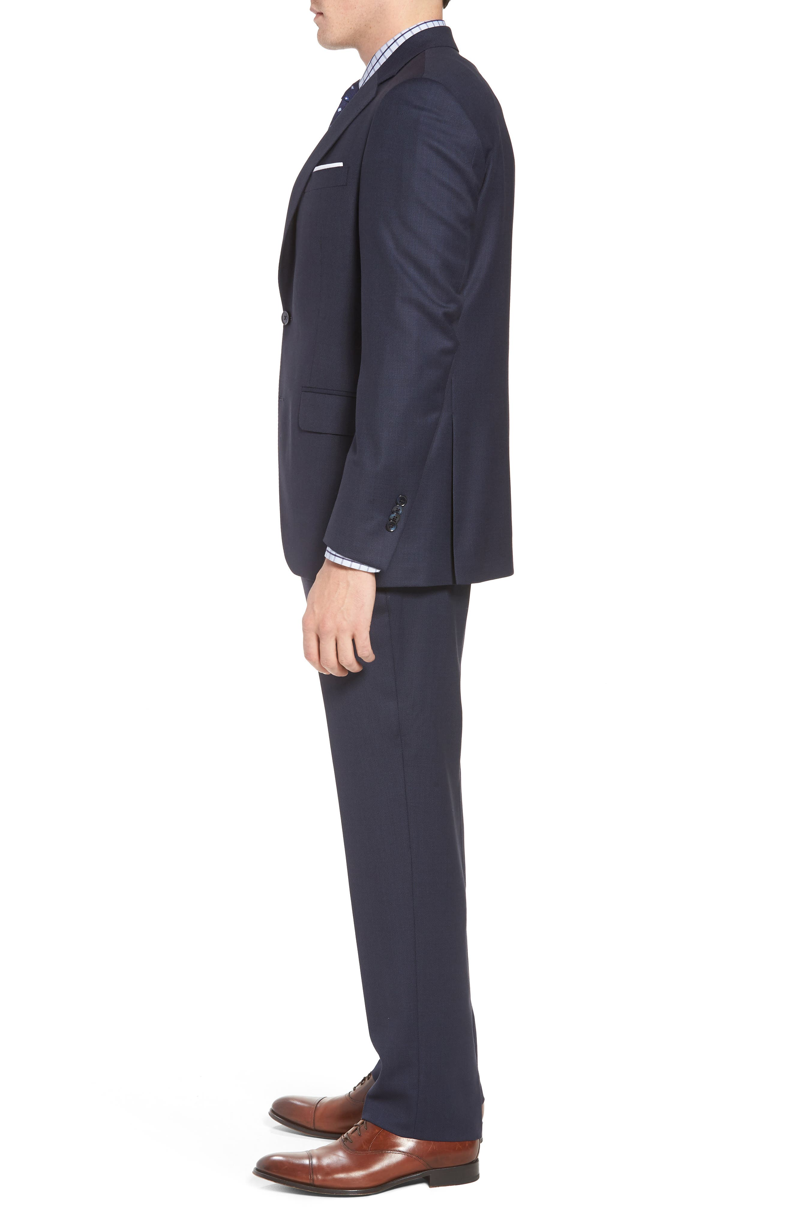 Classic Fit Bird's Eye Wool Suit,                             Alternate thumbnail 3, color,                             Navy