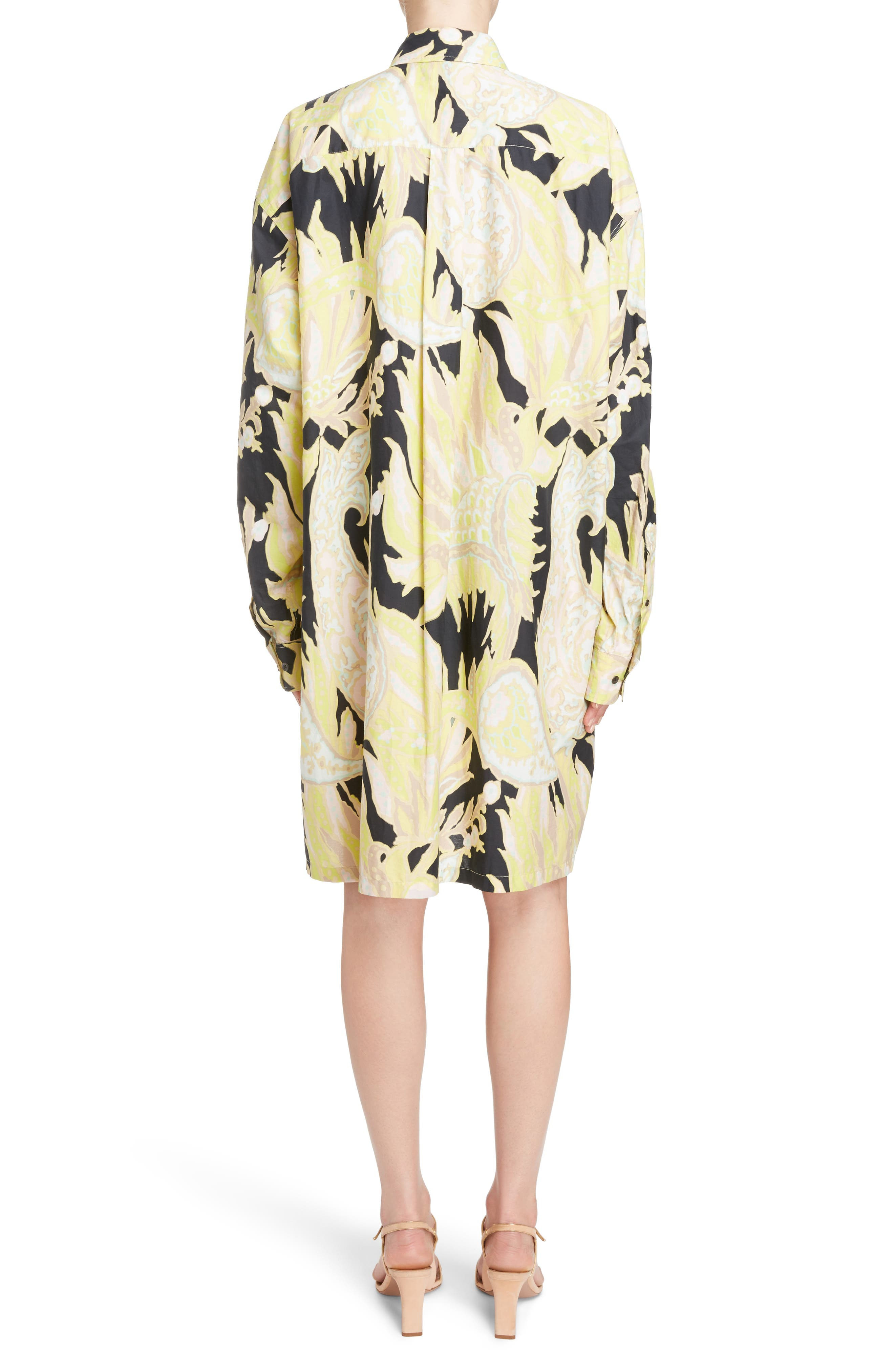 Sequin Embroidered Palm Print Shirtdress,                             Alternate thumbnail 2, color,                             Black