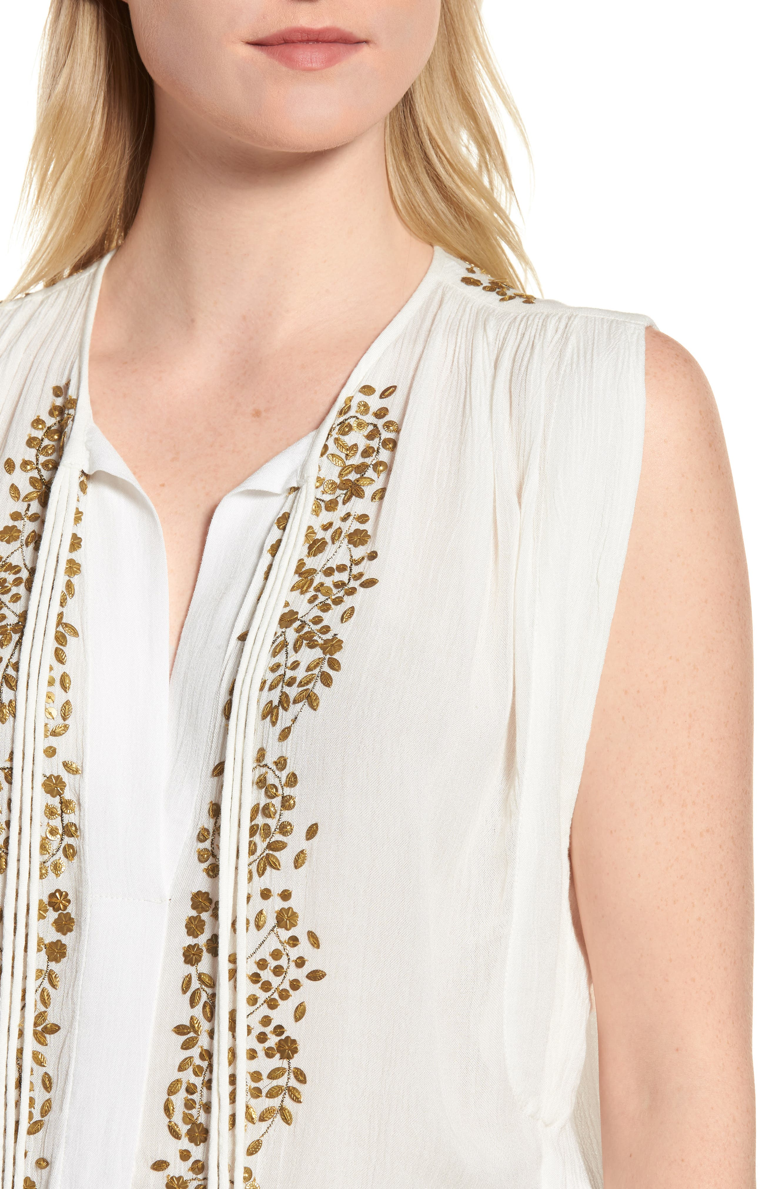 Helena Embellished Top,                             Alternate thumbnail 4, color,                             Marshmallow