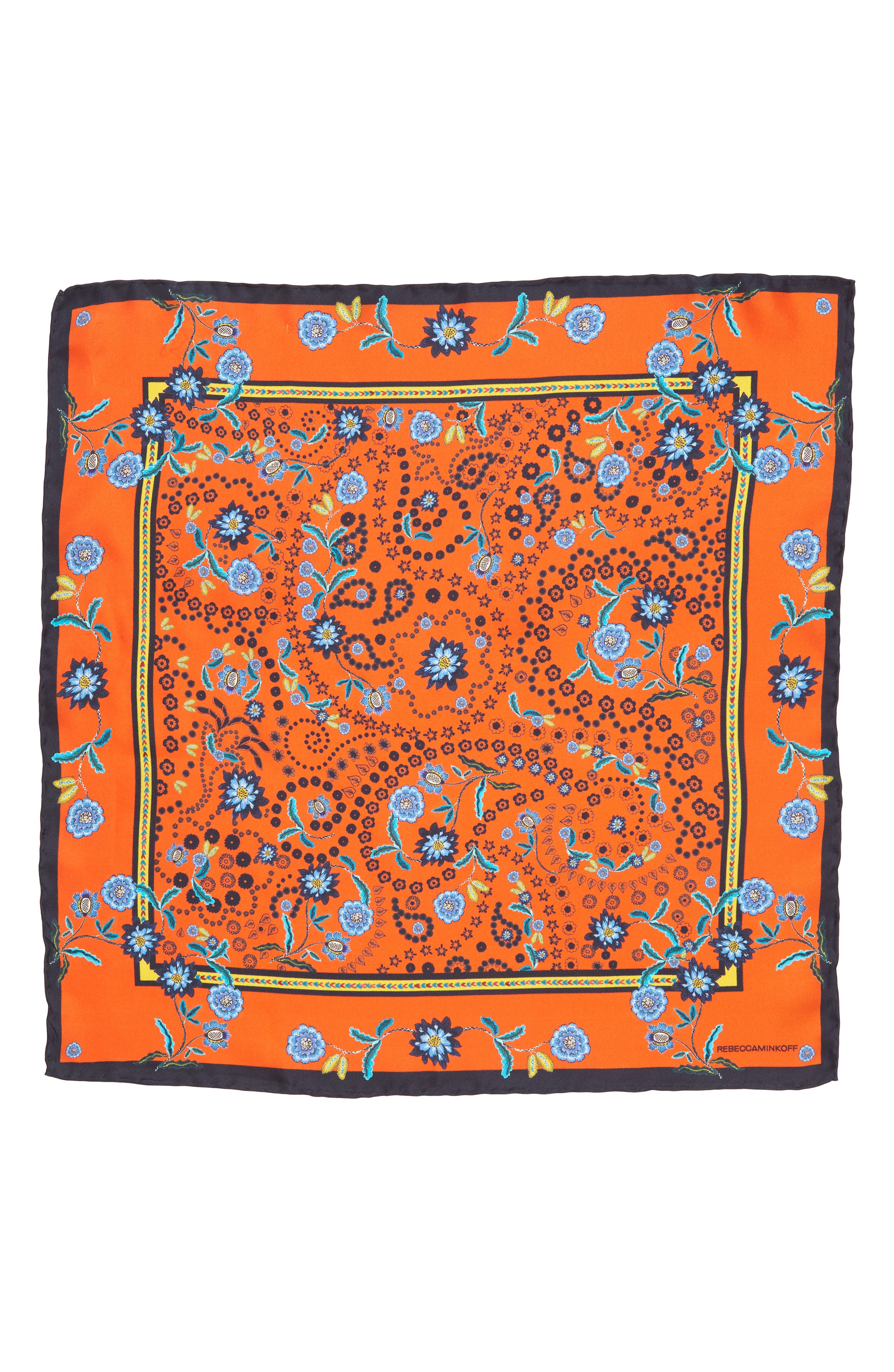 Mixed Floral Paisley Silk Bandana,                             Alternate thumbnail 2, color,                             Orange