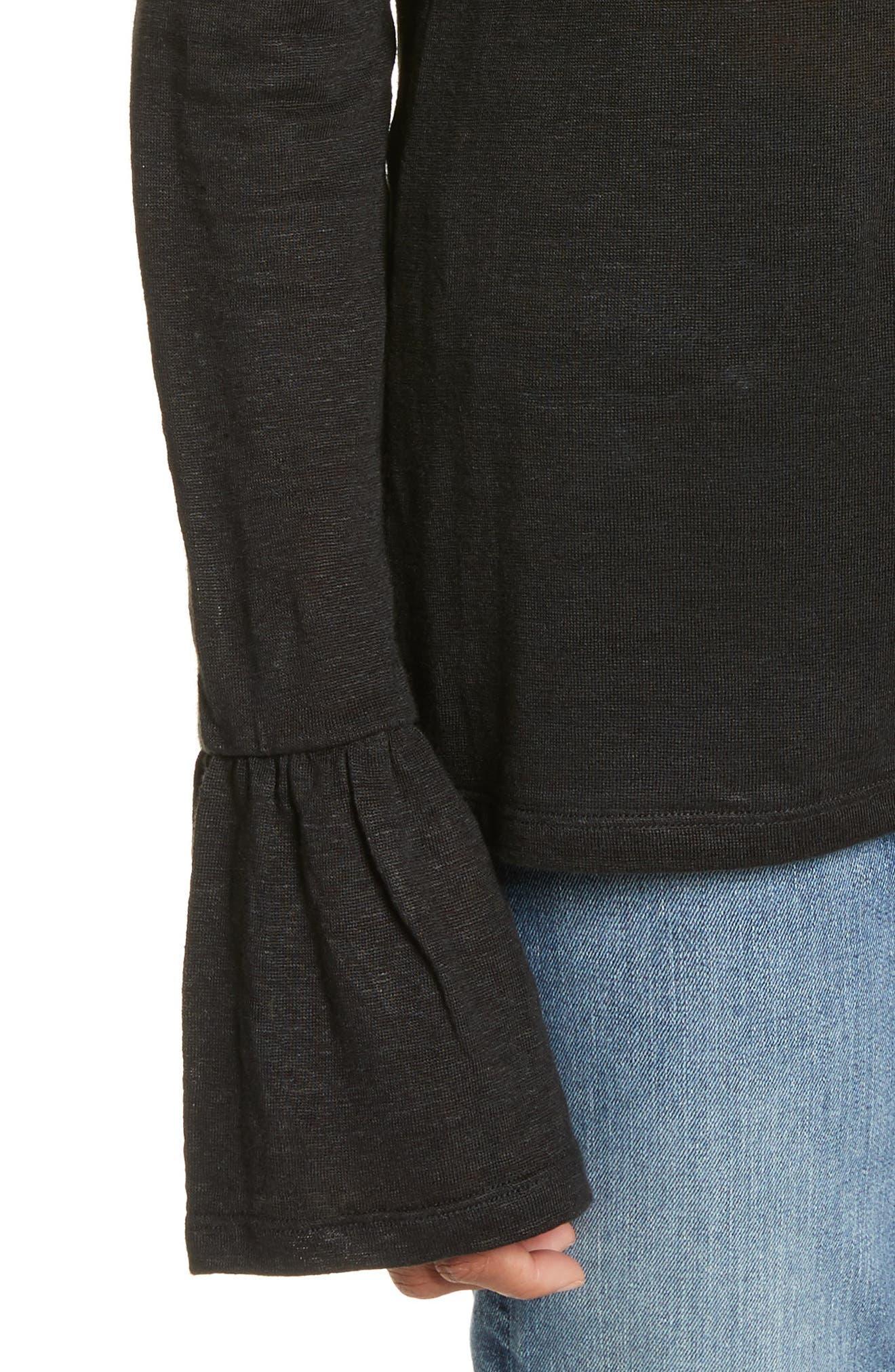 Ruffle Cuff Linen Top,                             Alternate thumbnail 5, color,                             Noir