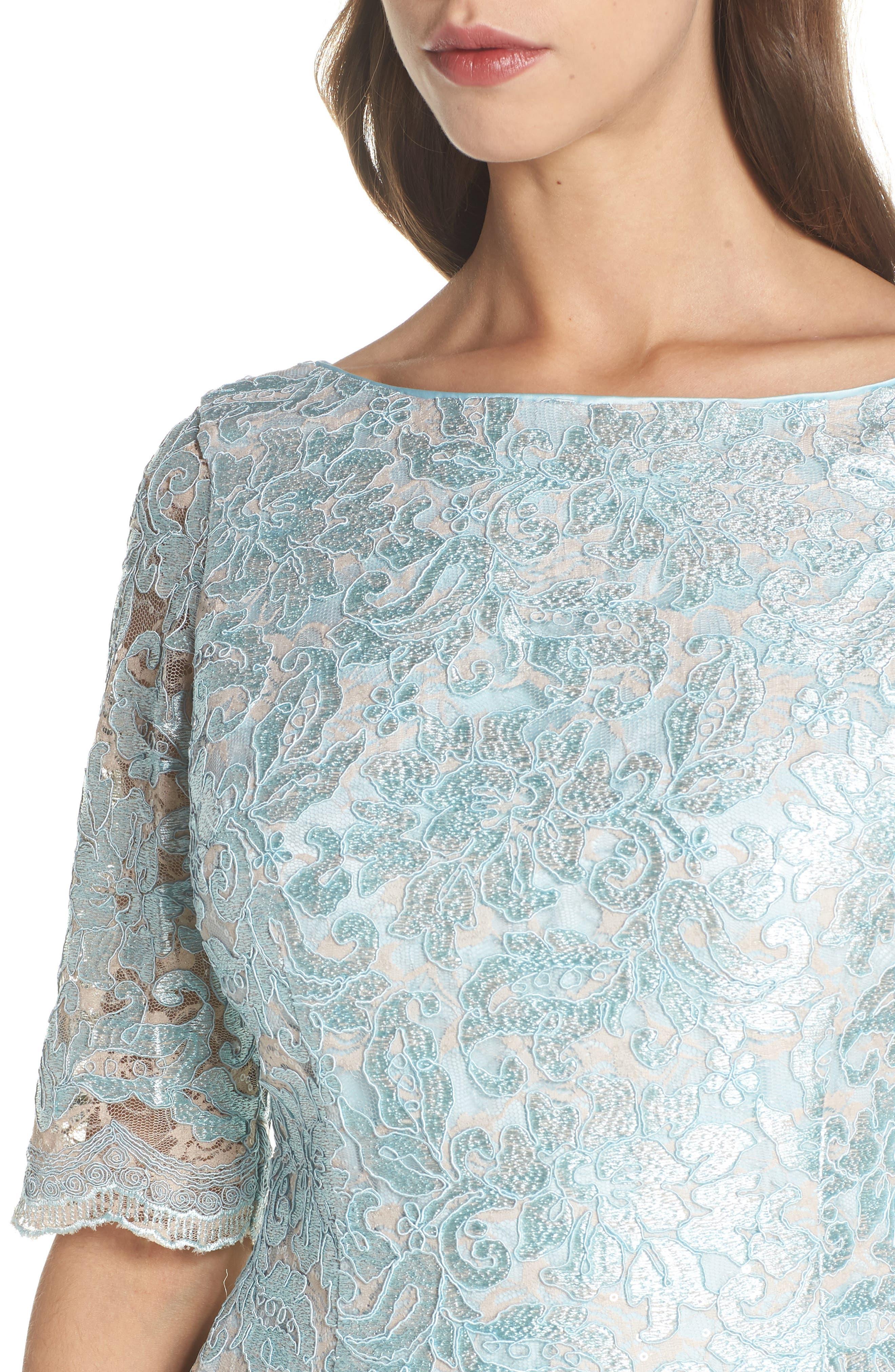Lace Sheath Dress,                             Alternate thumbnail 4, color,                             Mint