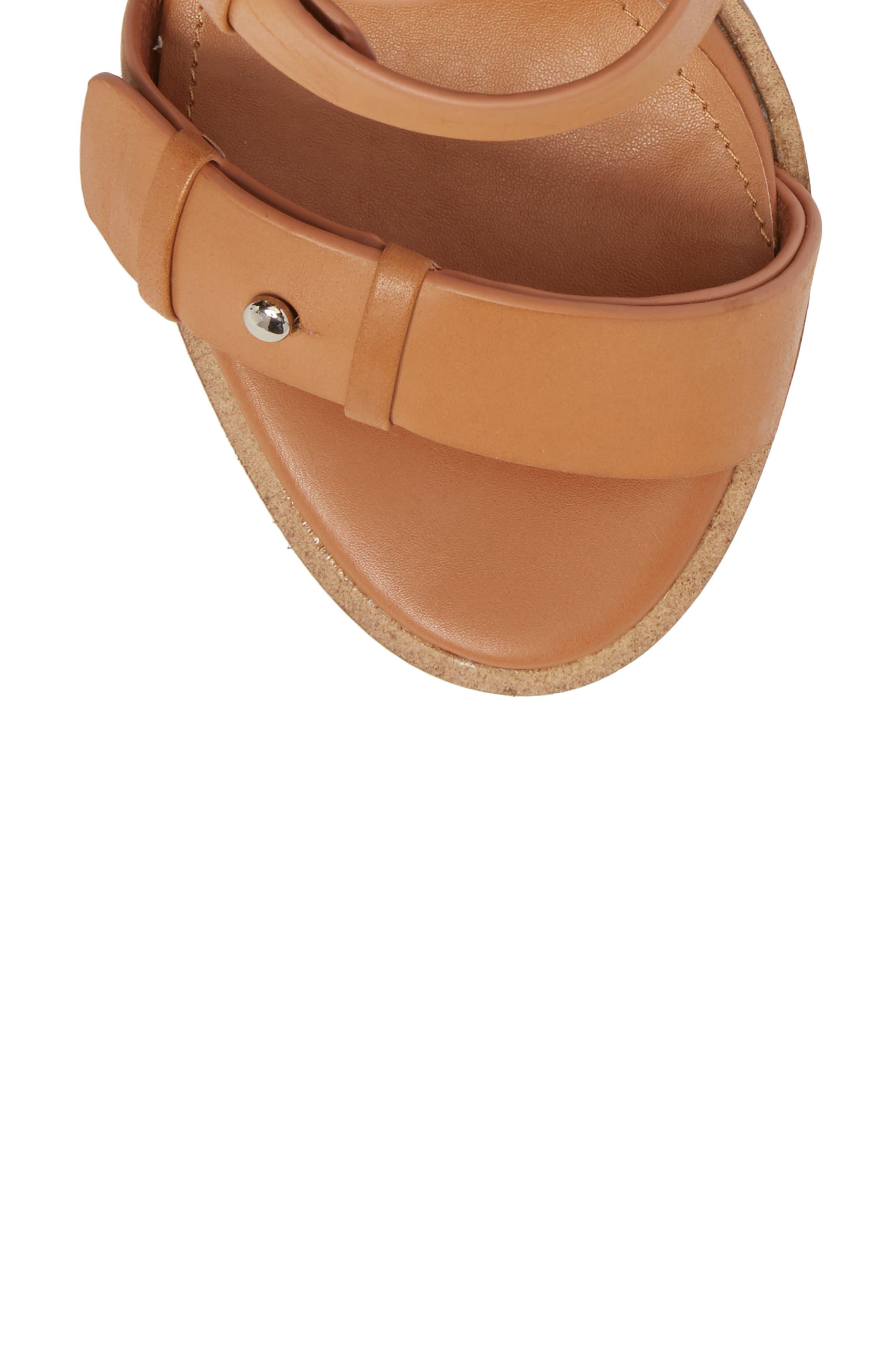 Adore Tall Cuffed Sandal,                             Alternate thumbnail 5, color,                             Light Tan Leather