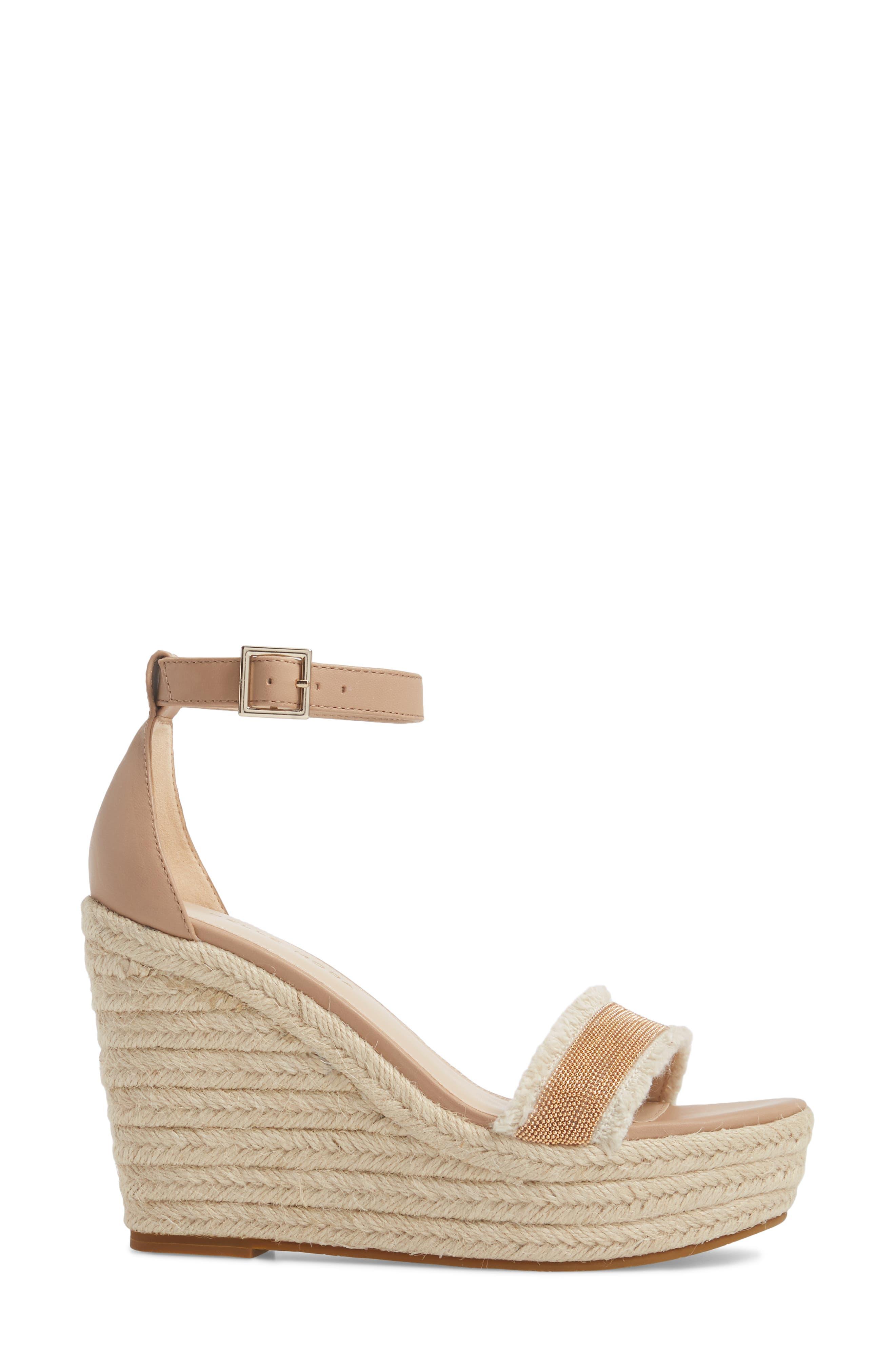 Radley Espadrille Wedge Sandal,                             Alternate thumbnail 3, color,                             Sand Leather