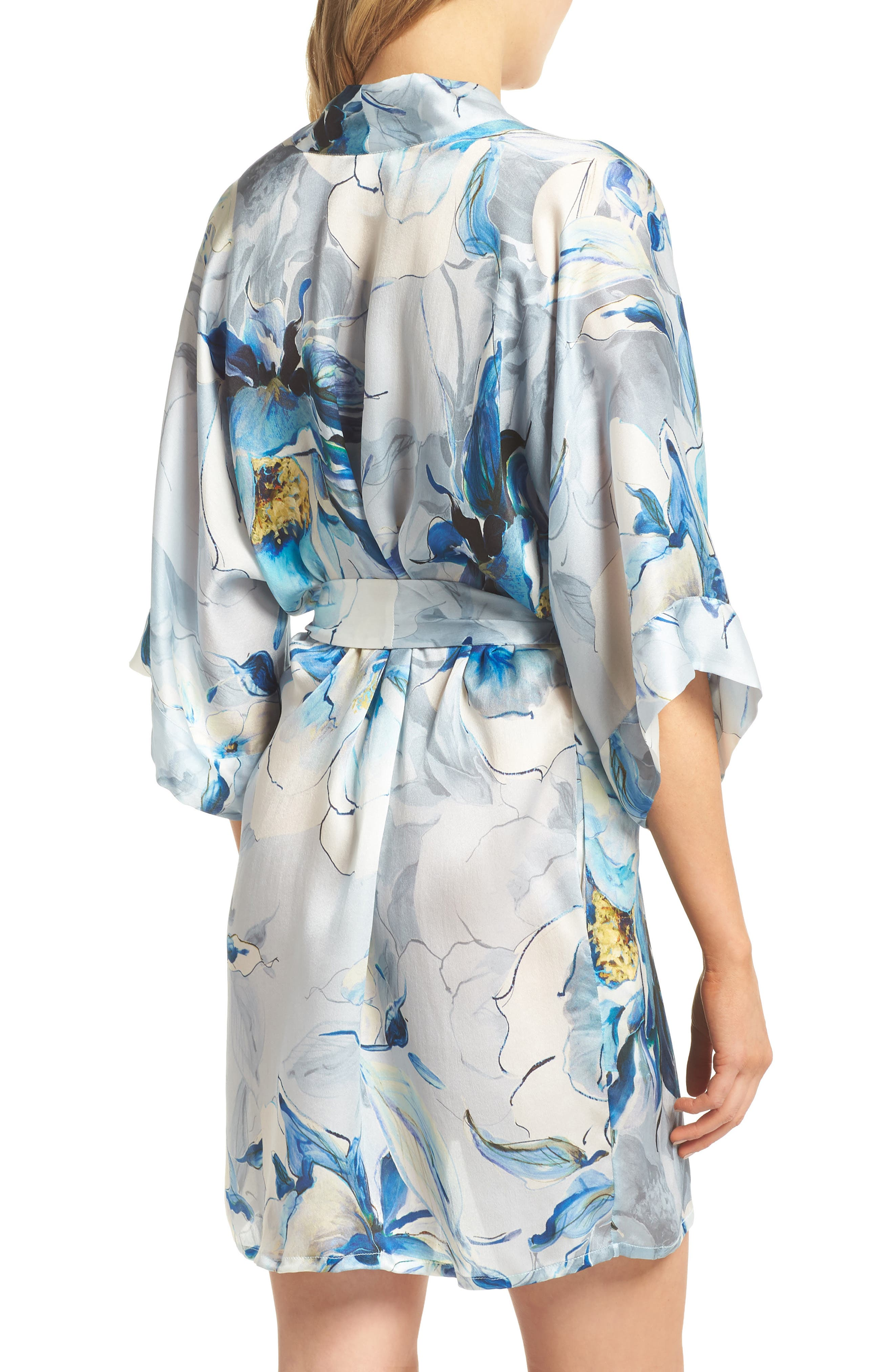 Short Silk Robe,                             Alternate thumbnail 2, color,                             Swept Away Print