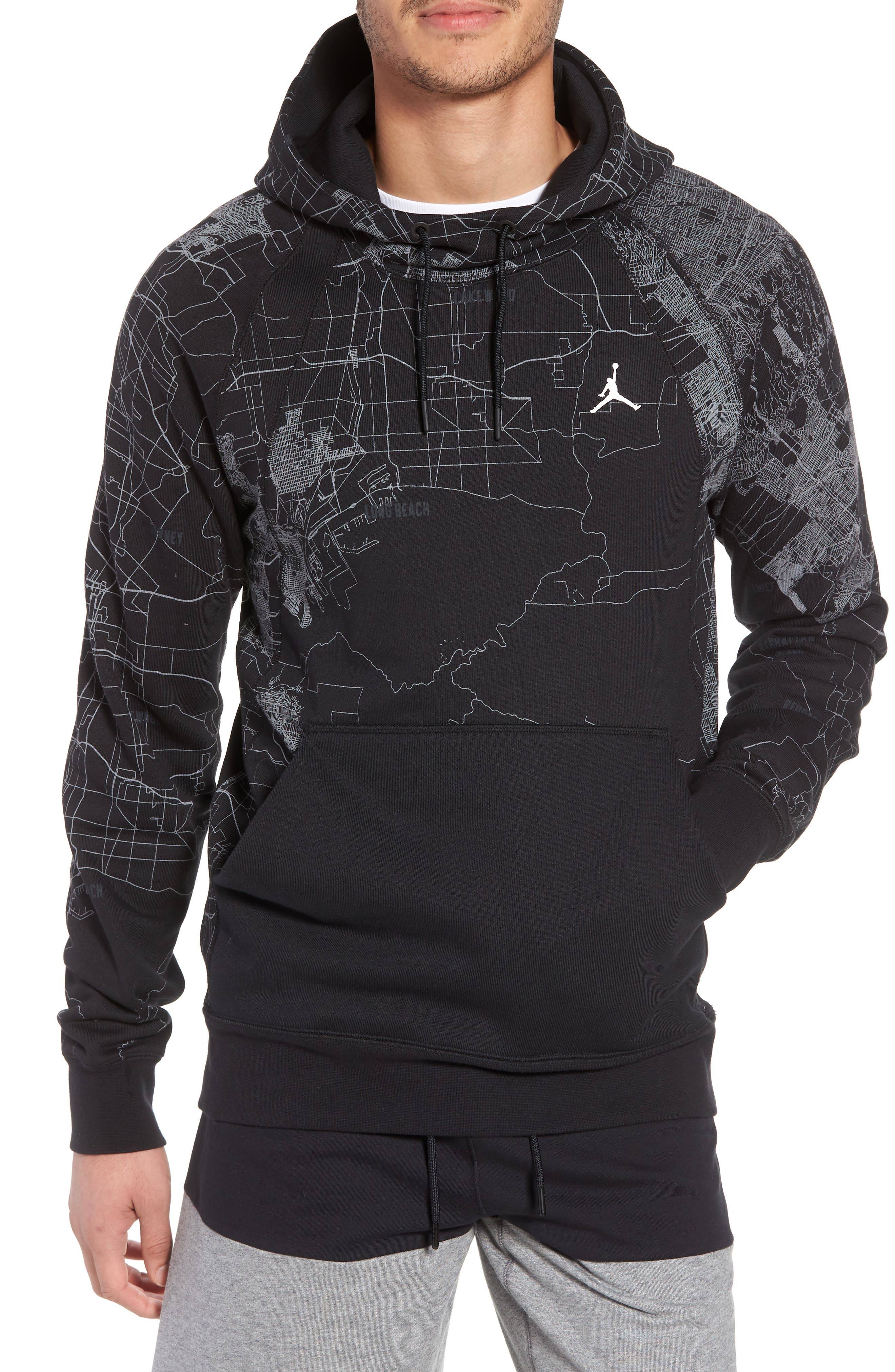 Wings Graphic Hoodie,                             Main thumbnail 1, color,                             Black/ White