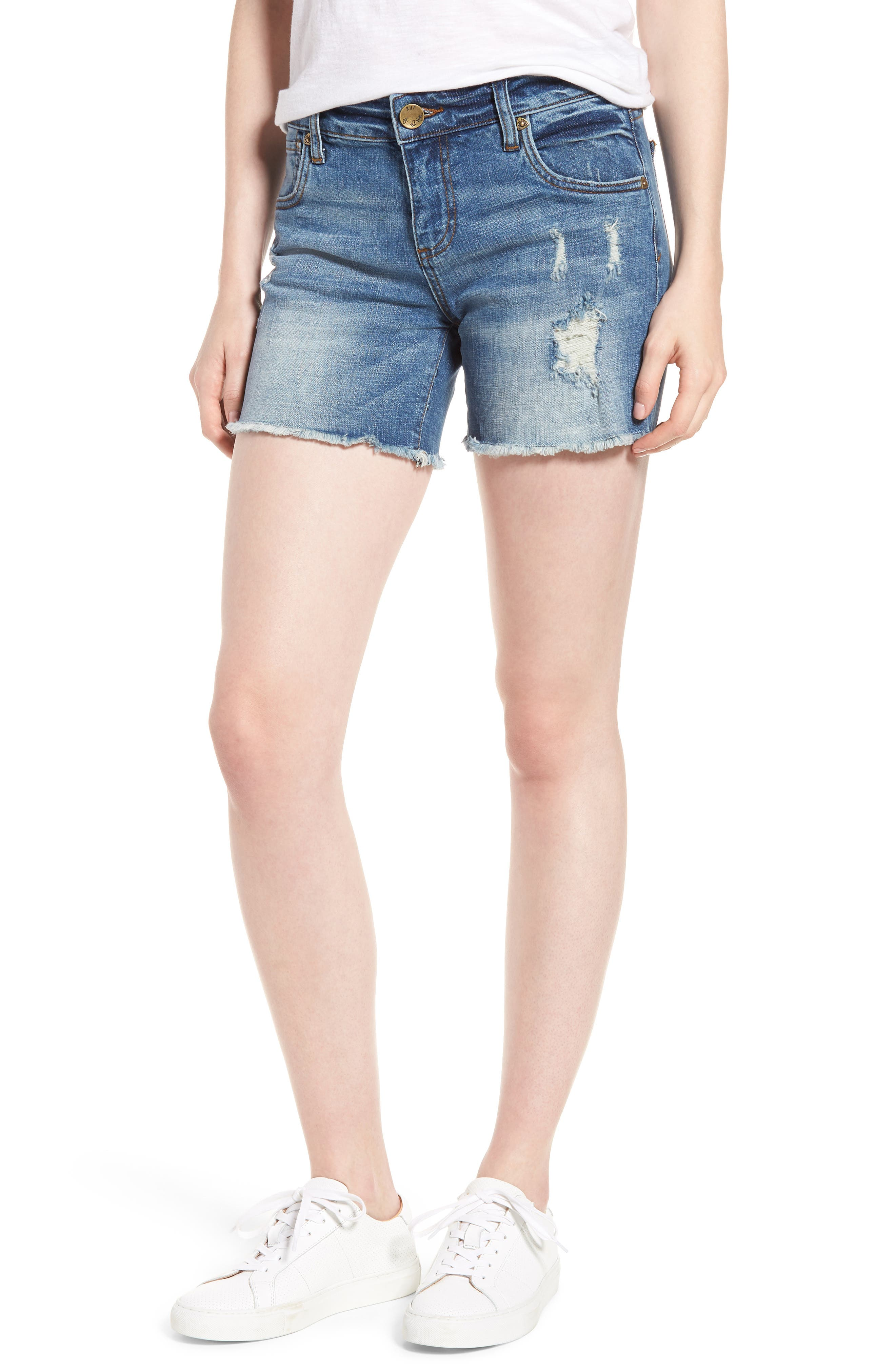 Gidget Distressed Denim Shorts,                         Main,                         color, Constructive