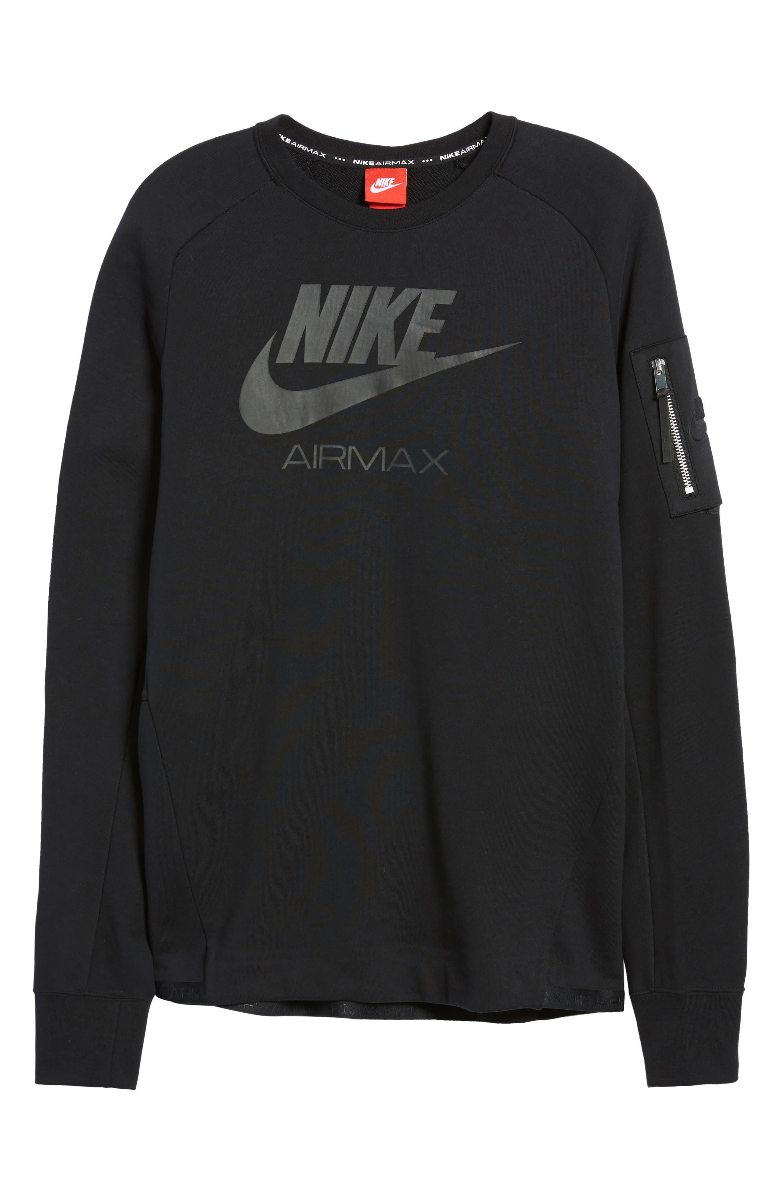 NSW Air Max Crewneck Sweatshirt,                             Alternate thumbnail 6, color,                             Black/ Black/ Black