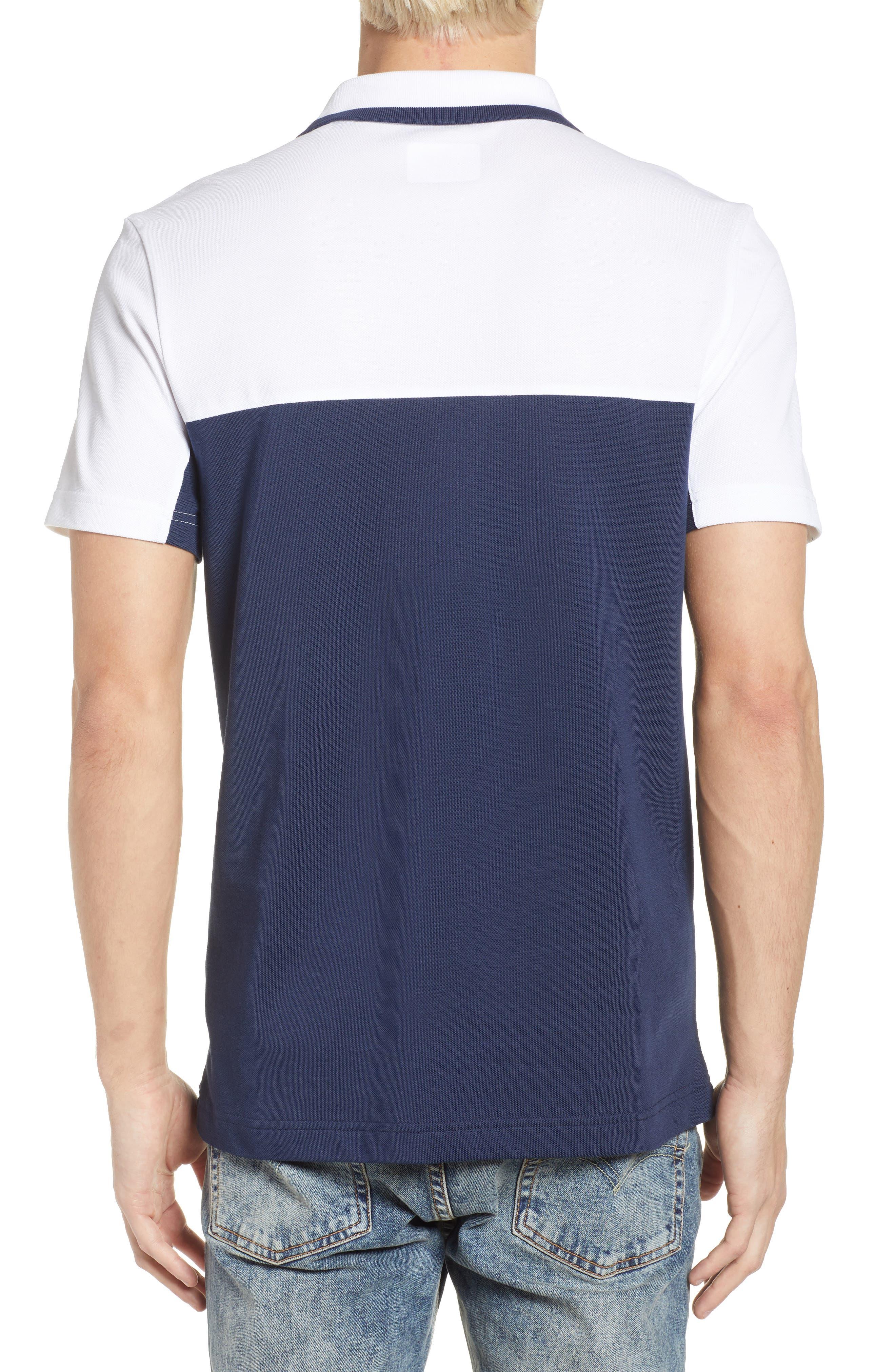Piqué Cotton Blend Polo,                             Alternate thumbnail 2, color,                             White/ Navy Blue