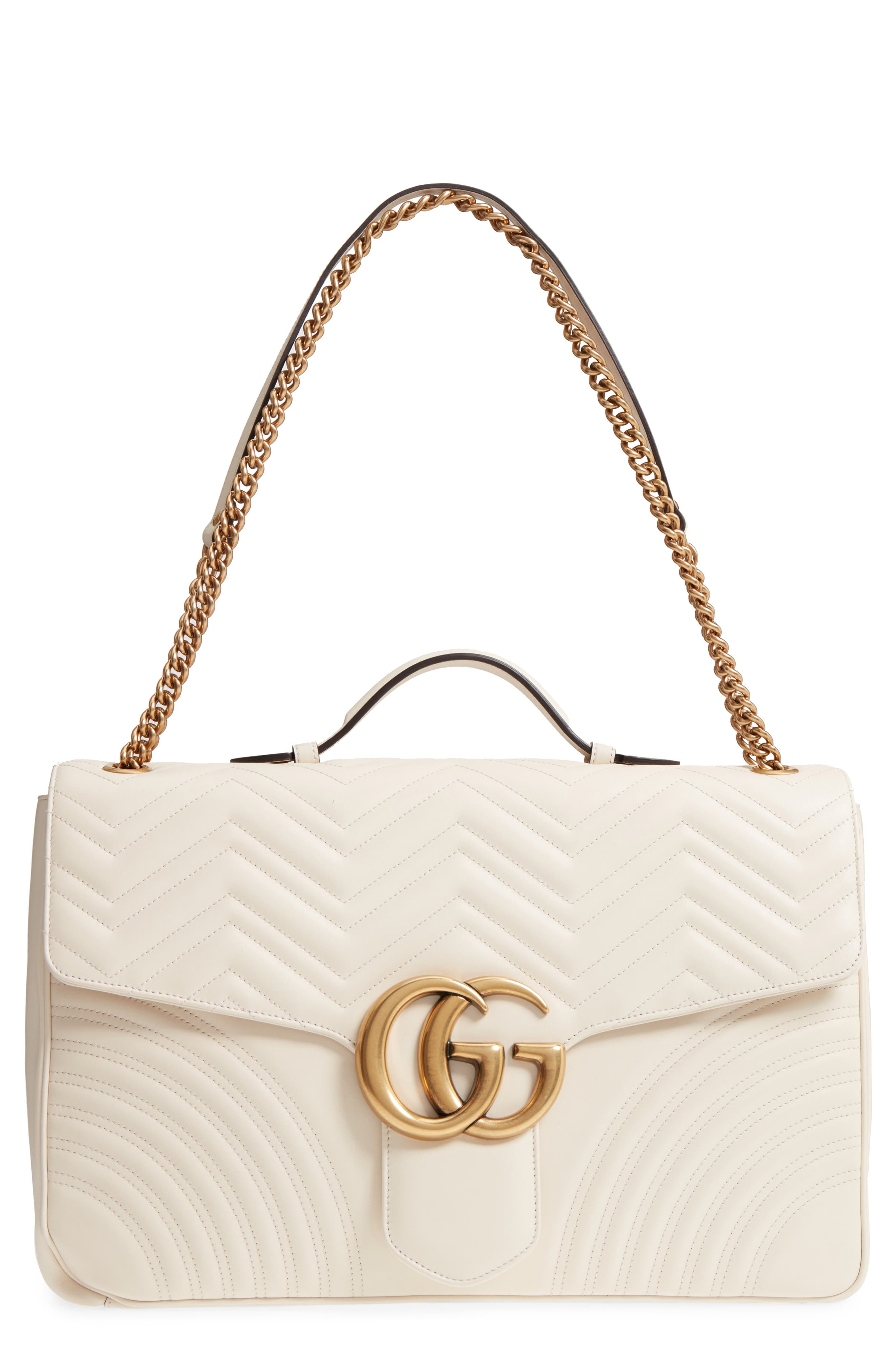 GG Marmont Maxi Matelassé Top Handle Shoulder Bag,                         Main,                         color, White