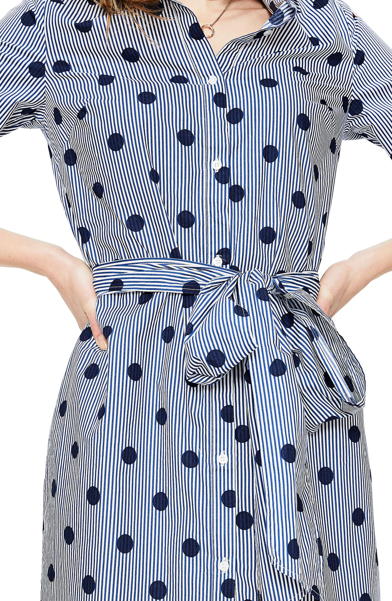 Trend Stripe Dot Cotton Shirtdress,                             Alternate thumbnail 5, color,                             Navy Spot On Stripe