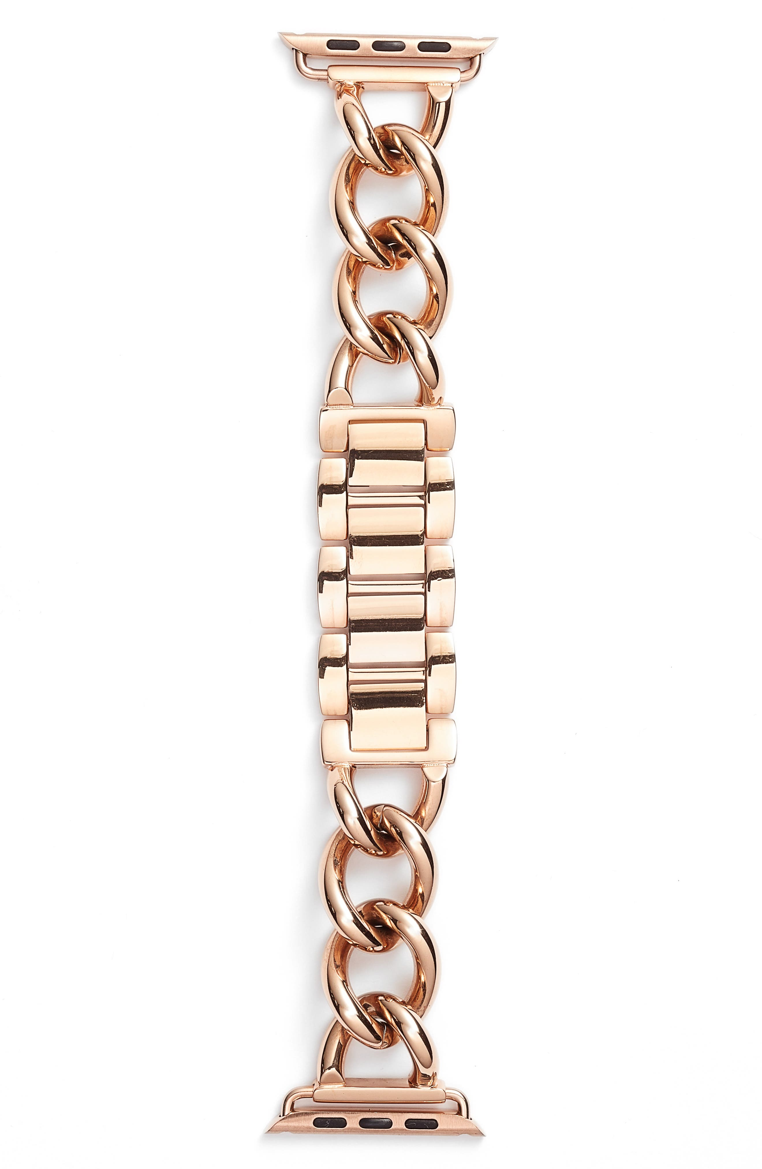 Bezels & Bytes Chunky Curb Chain Apple Watch Band, 42mm,                             Main thumbnail 1, color,                             Rose Gold