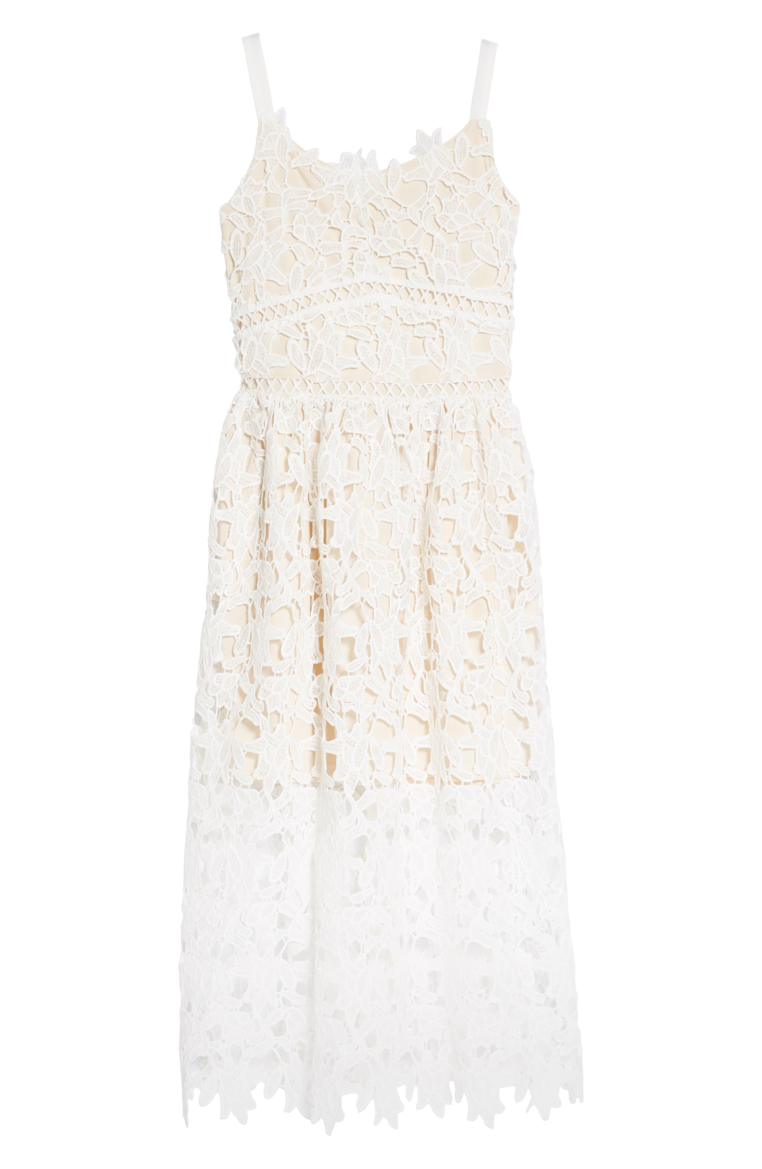 Floral Lace Dress,                         Main,                         color, White/ Tan