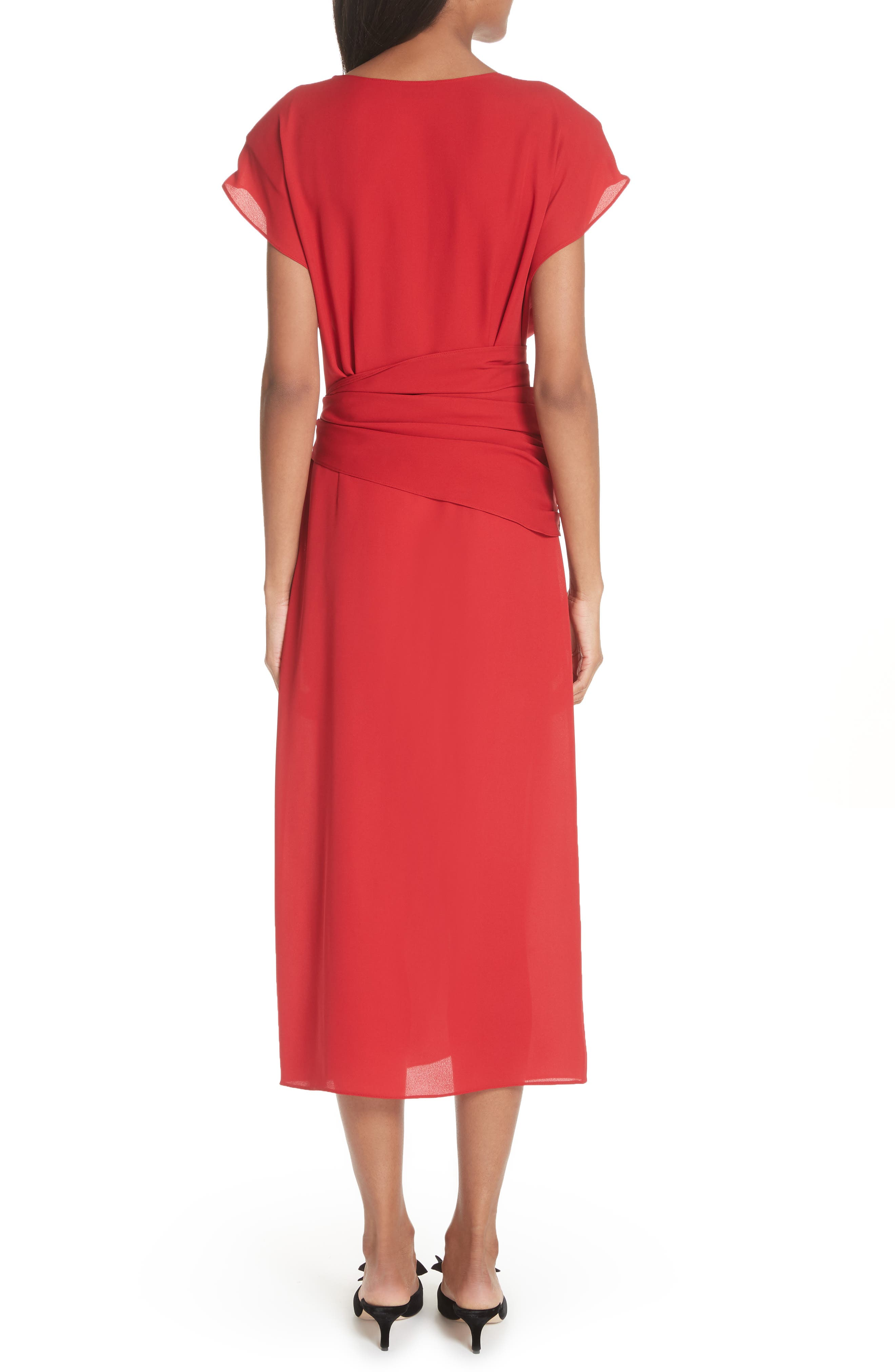 Tie Waist Silk Dress,                             Alternate thumbnail 2, color,                             Red