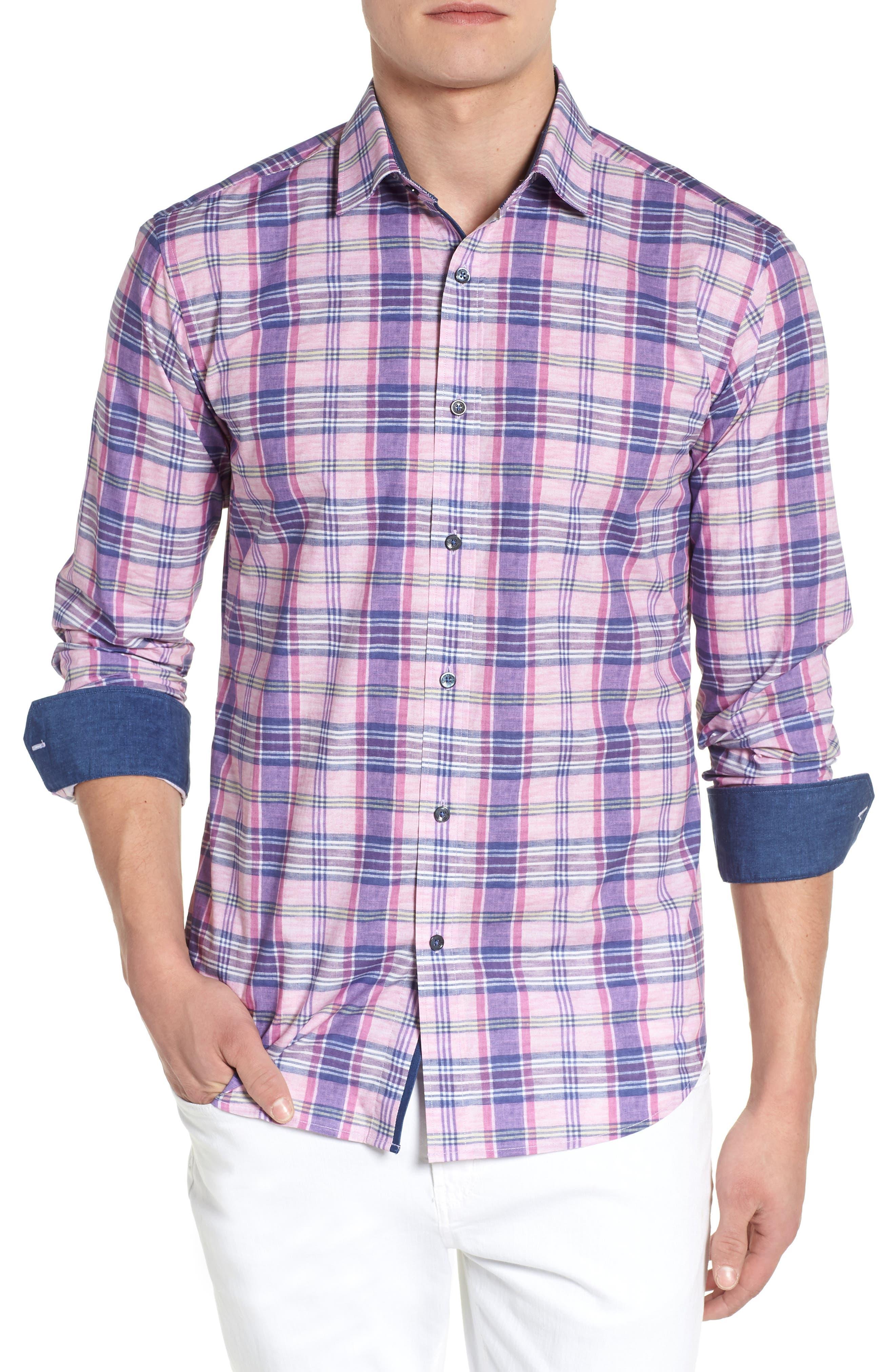 Summer Plaid Shaped Fit Sport Shirt,                         Main,                         color, Mist