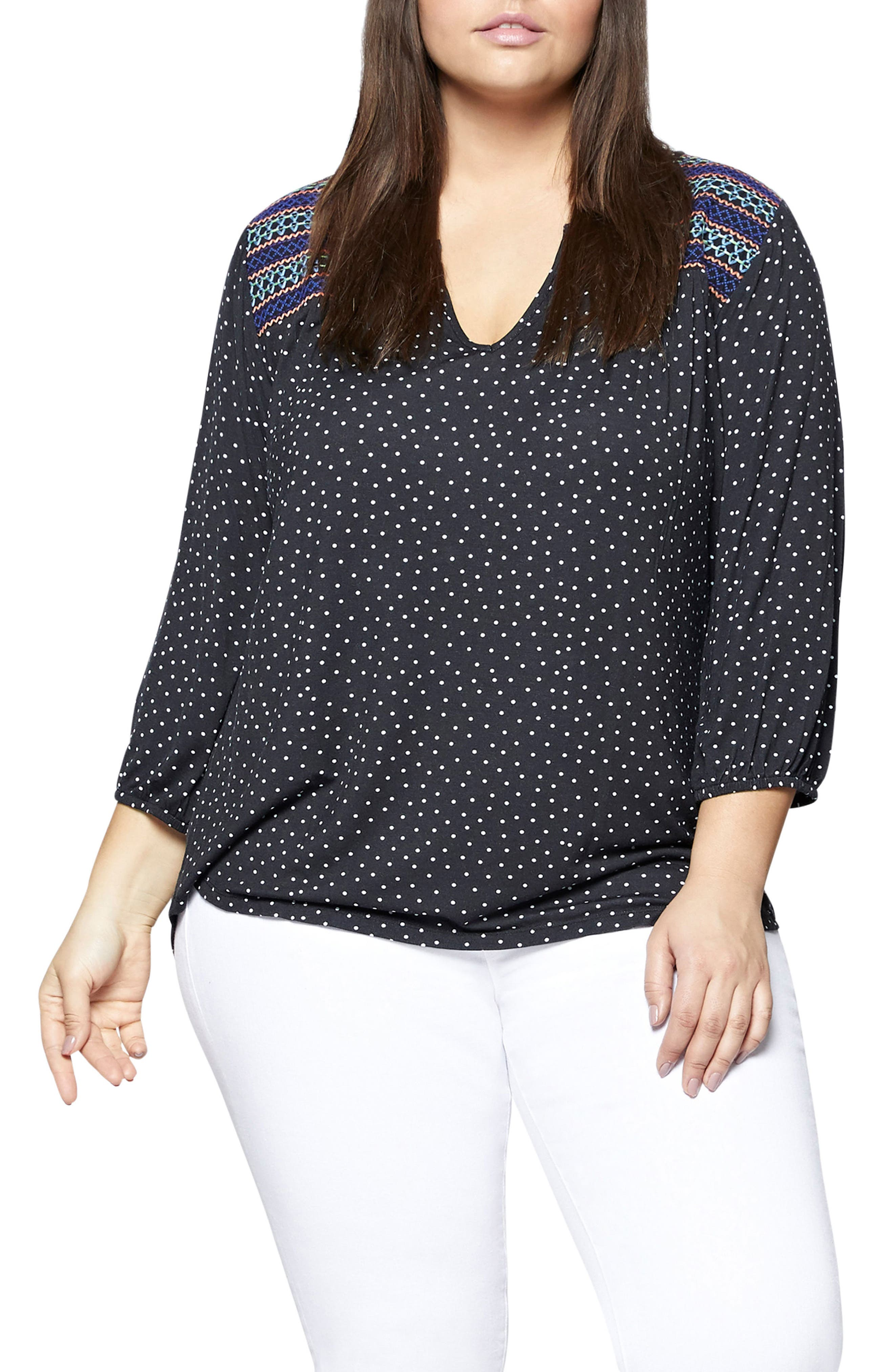 Anabelle Embroidered Knit Top,                         Main,                         color, Black Polka Dot