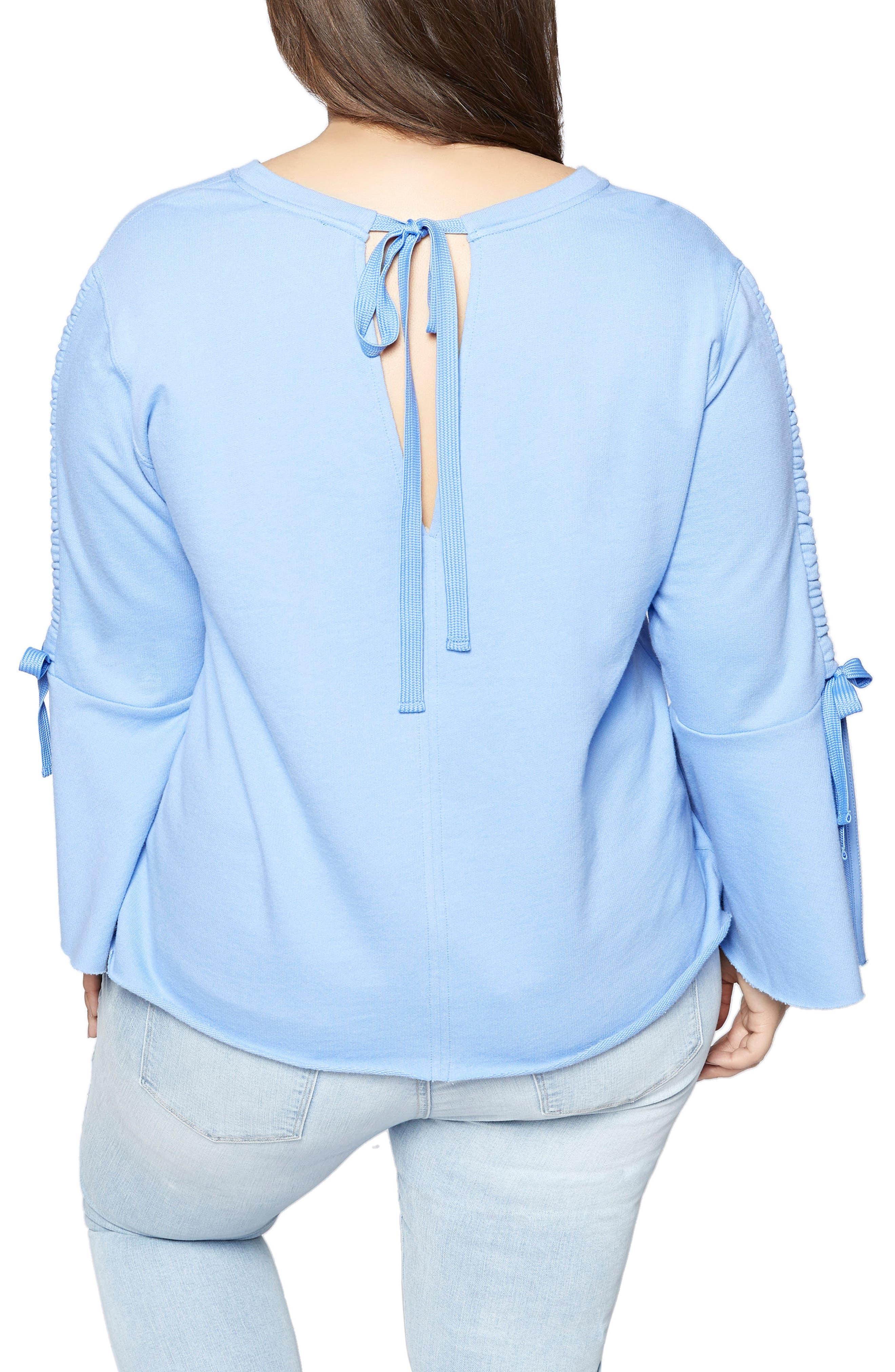Upper West Bell Sleeve Sweatshirt,                             Alternate thumbnail 2, color,                             Iris