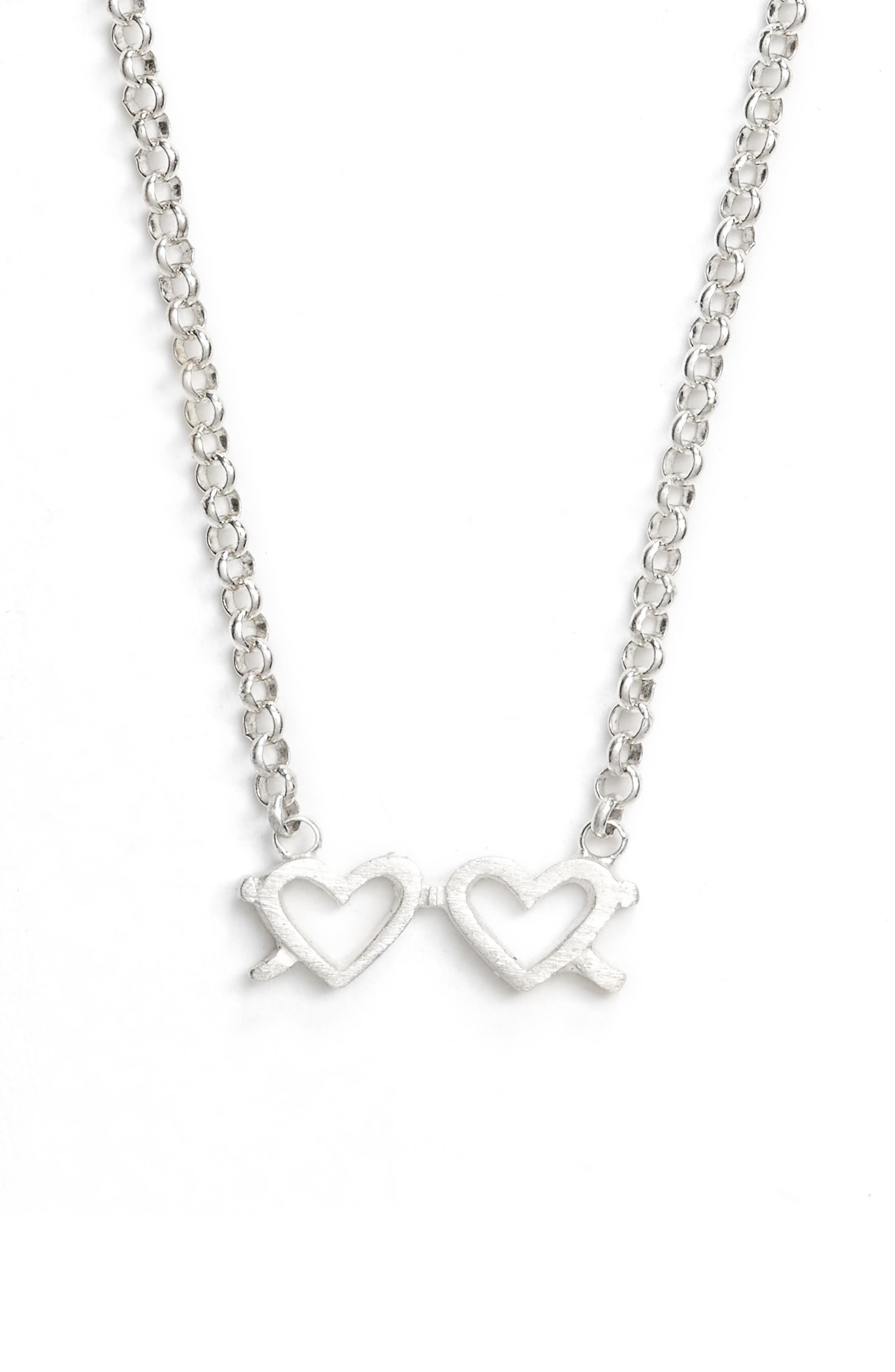 Besties Heart Necklace,                             Alternate thumbnail 3, color,                             Silver