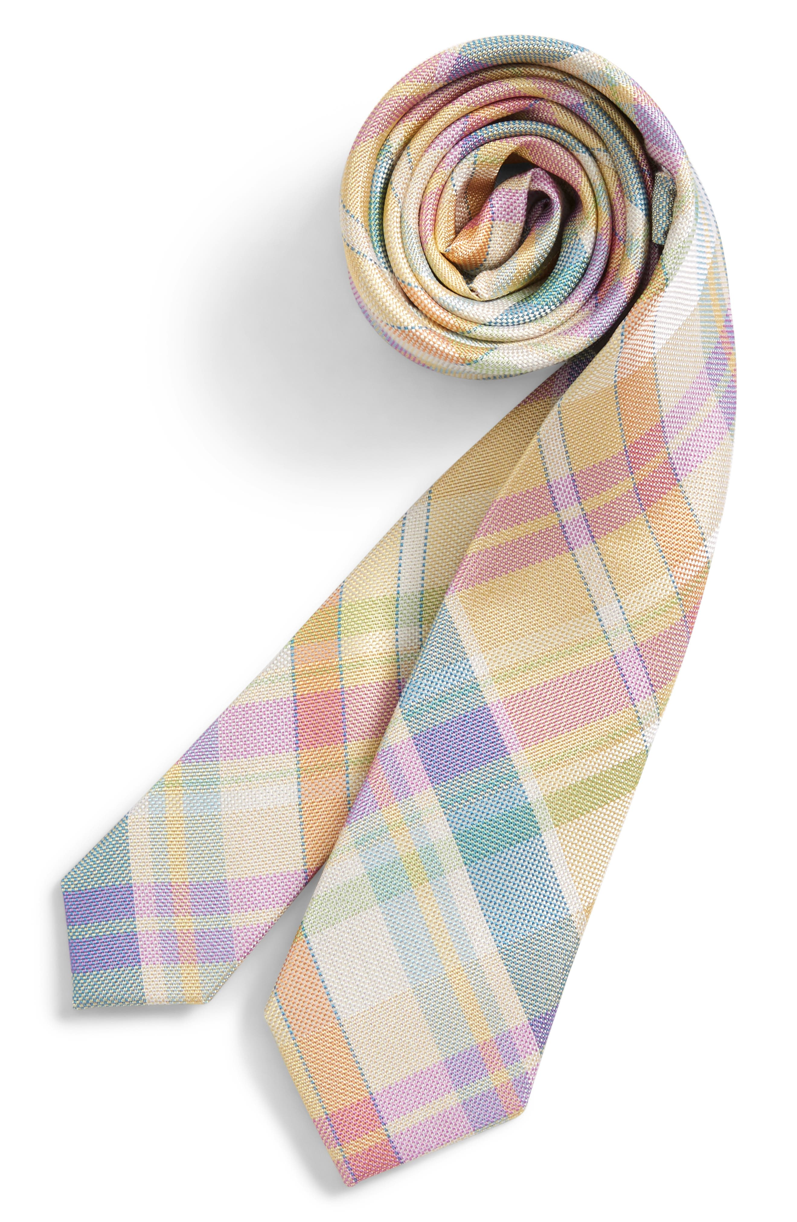 Oversize Tartan Plaid Silk Tie,                         Main,                         color, Yellow