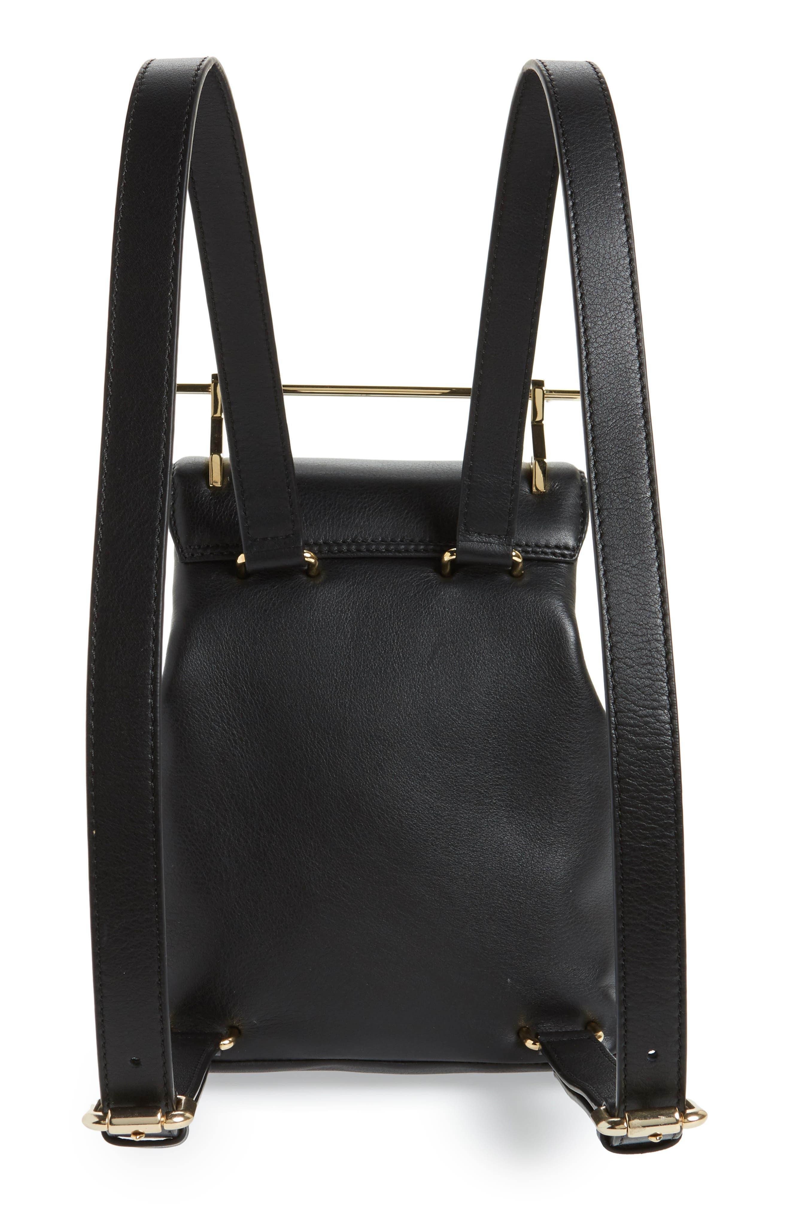 Mini Calfskin Leather Backpack,                             Alternate thumbnail 3, color,                             Black/ Gold