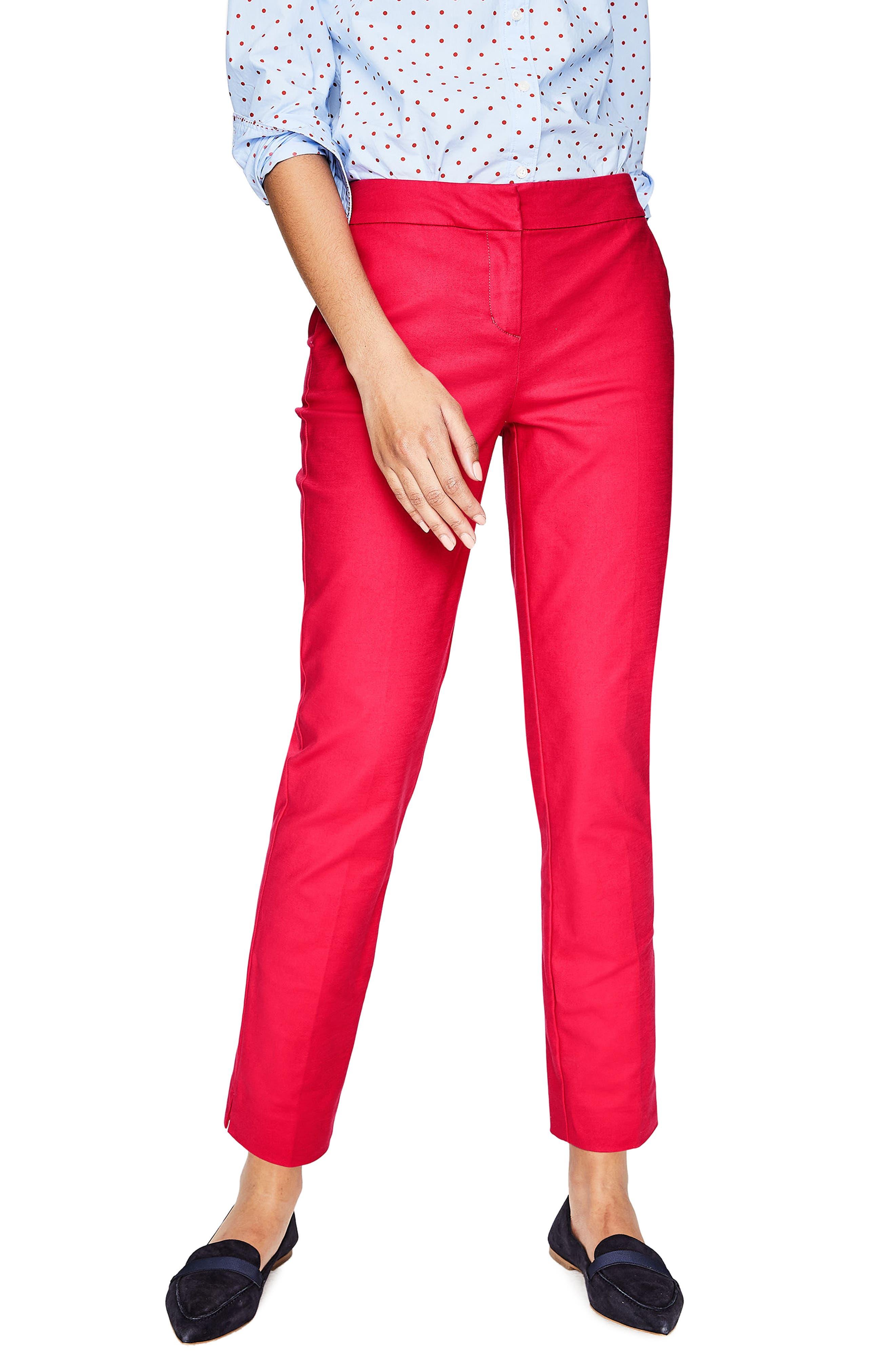 Richmond Polka Dot Stripe Contrast Ankle Pants,                         Main,                         color, Hibiscus