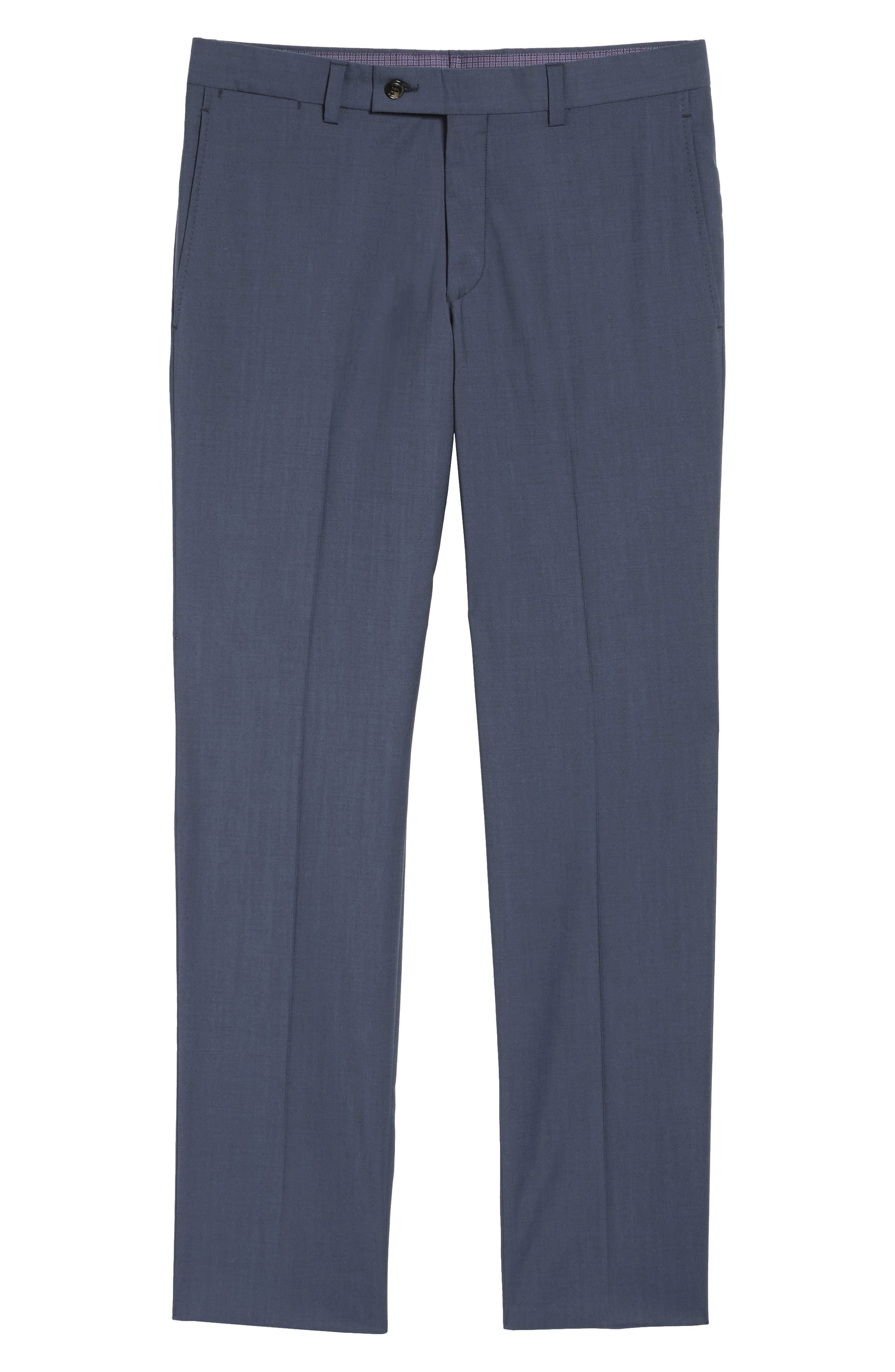 Jefferson Flat Front Stretch Wool Trousers,                             Alternate thumbnail 6, color,                             Blue