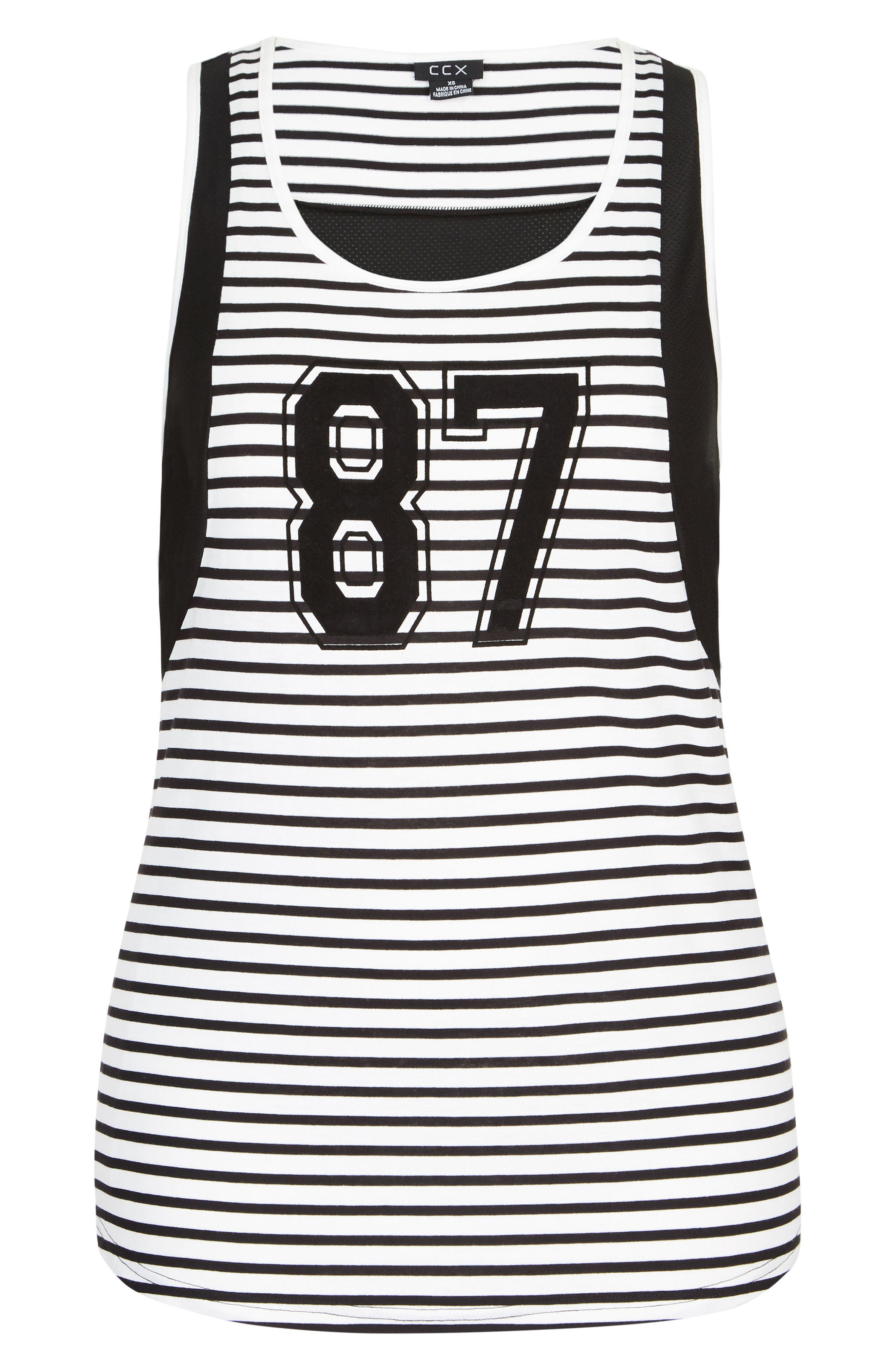 87 Stripe & Mesh Tank,                             Alternate thumbnail 3, color,                             Black/ White Stripe