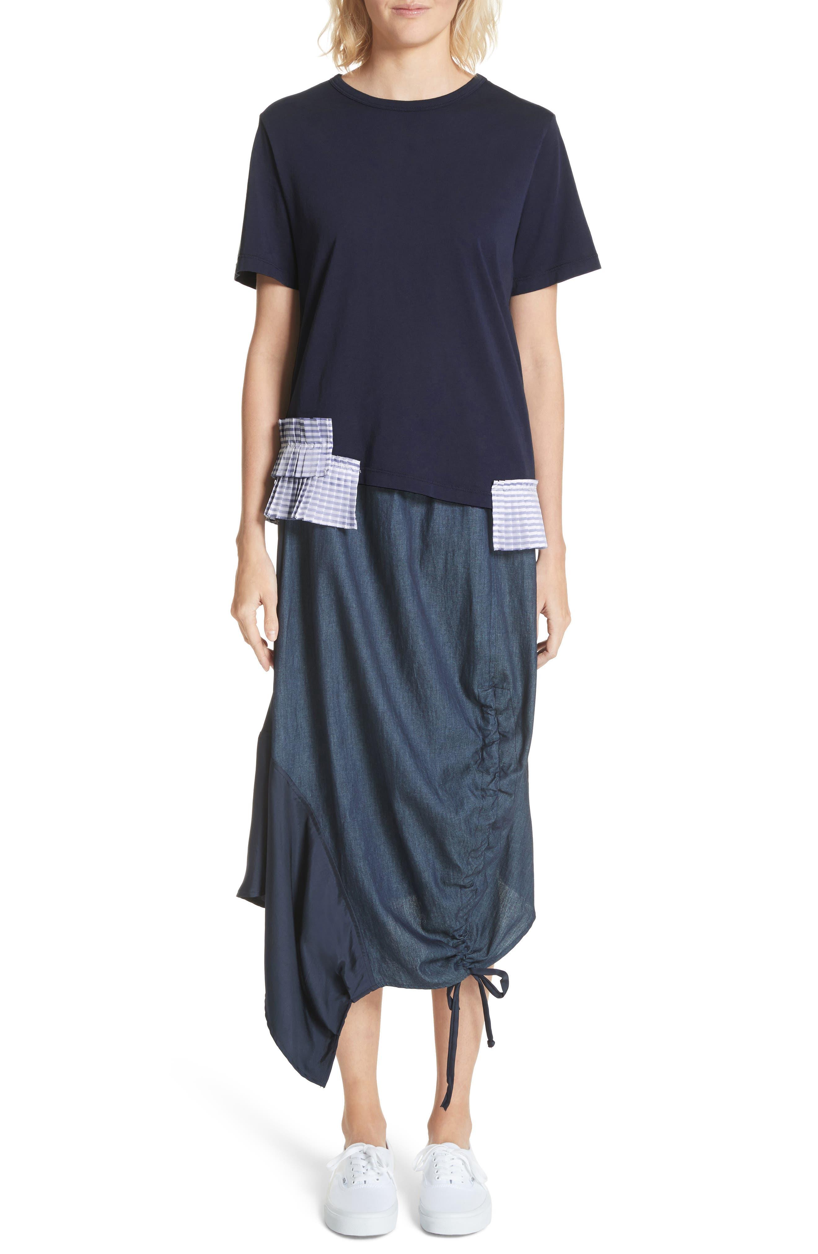 Asymmetrical Mixed Media Skirt,                             Alternate thumbnail 7, color,                             Navy