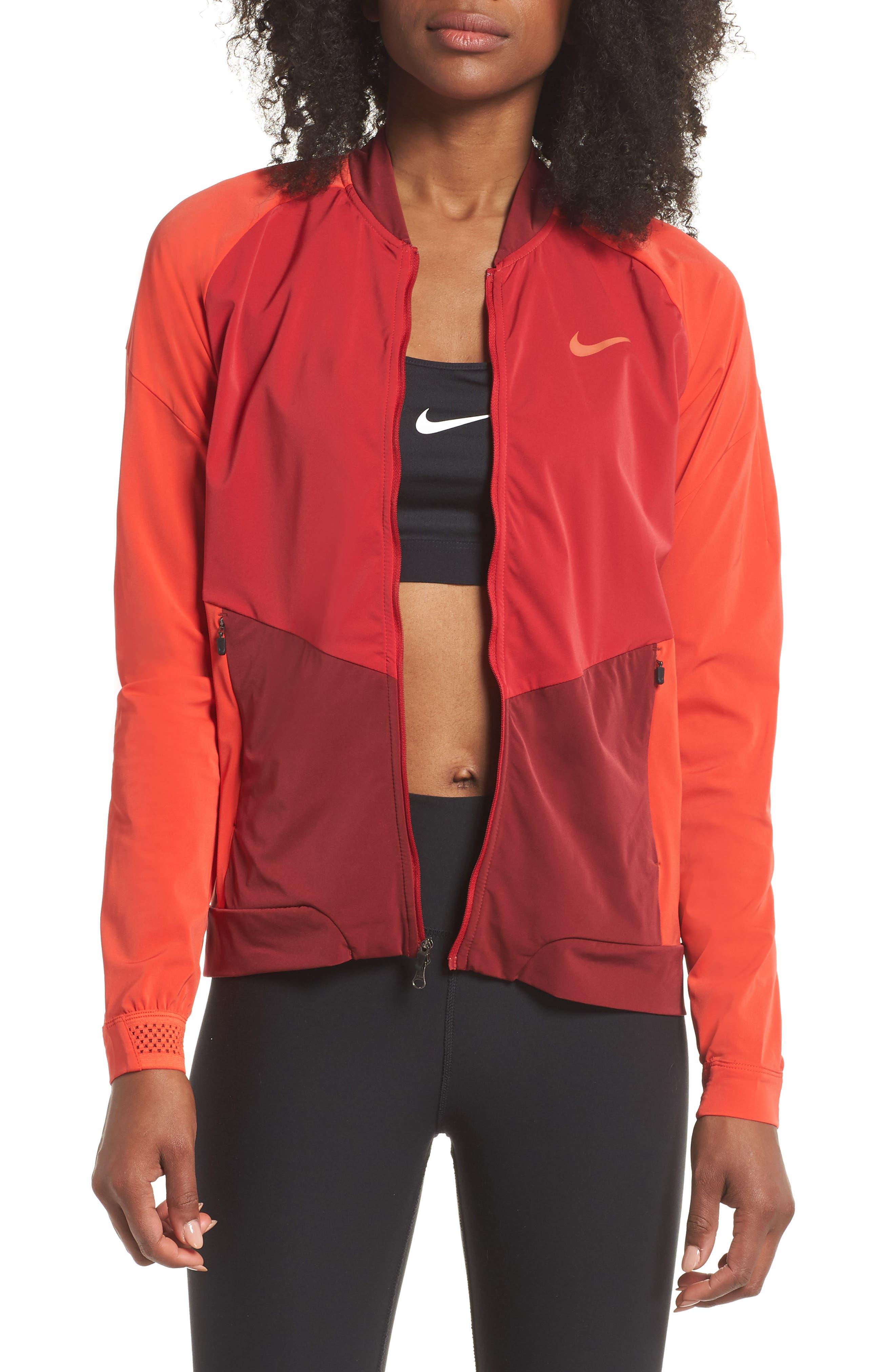 Dry Stadium Jacket,                             Main thumbnail 1, color,                             Habanero Red/ Coral