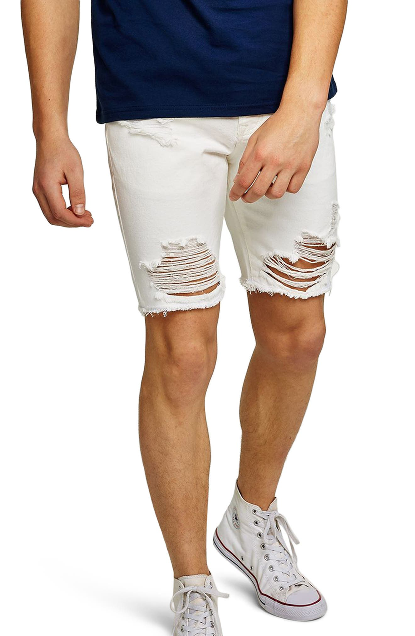 Slim Fit Ripped Denim Shorts,                             Main thumbnail 1, color,                             White