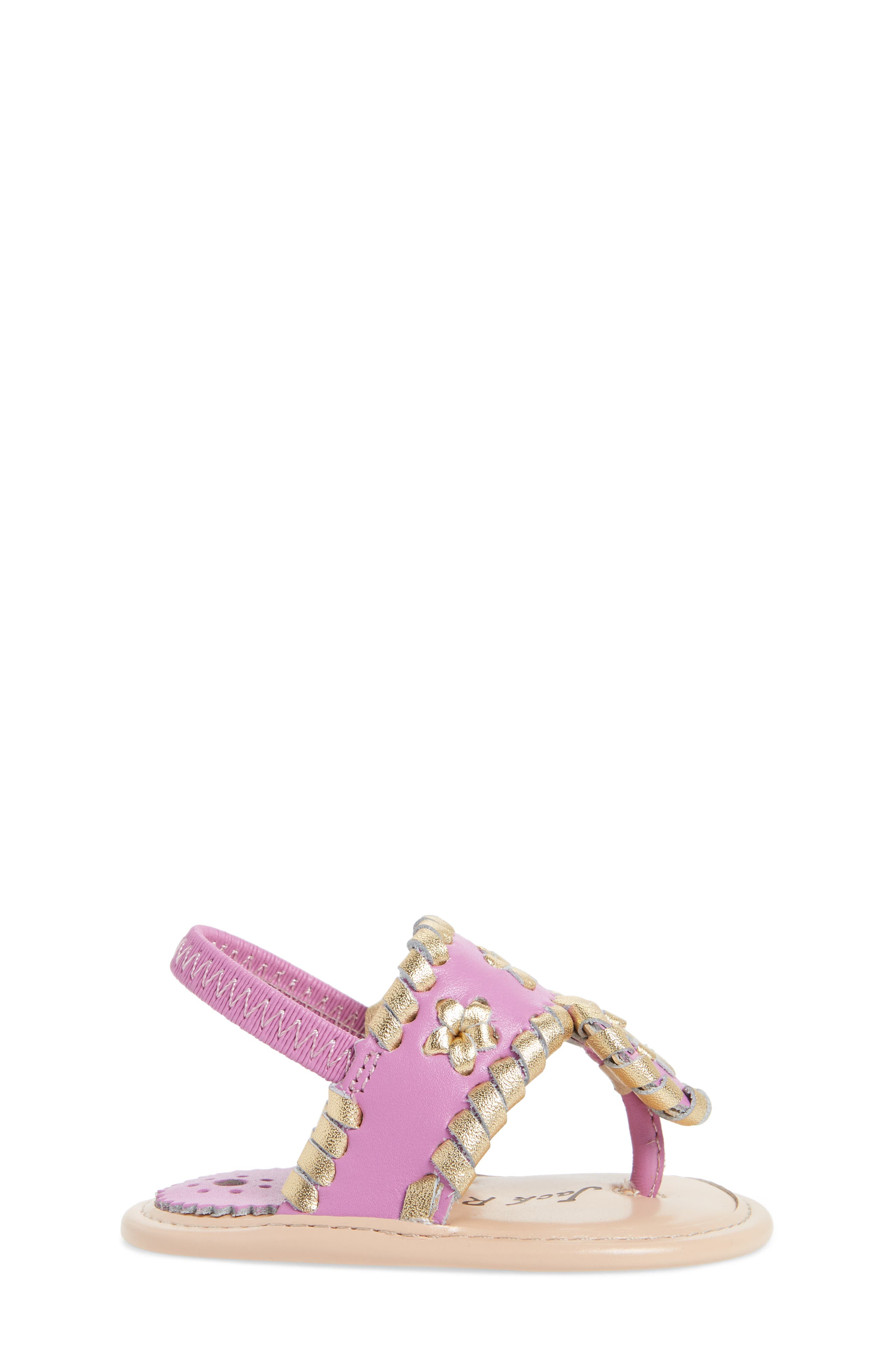 Hollis Sandal,                             Alternate thumbnail 3, color,                             Lavender Pink/ Gold Leather