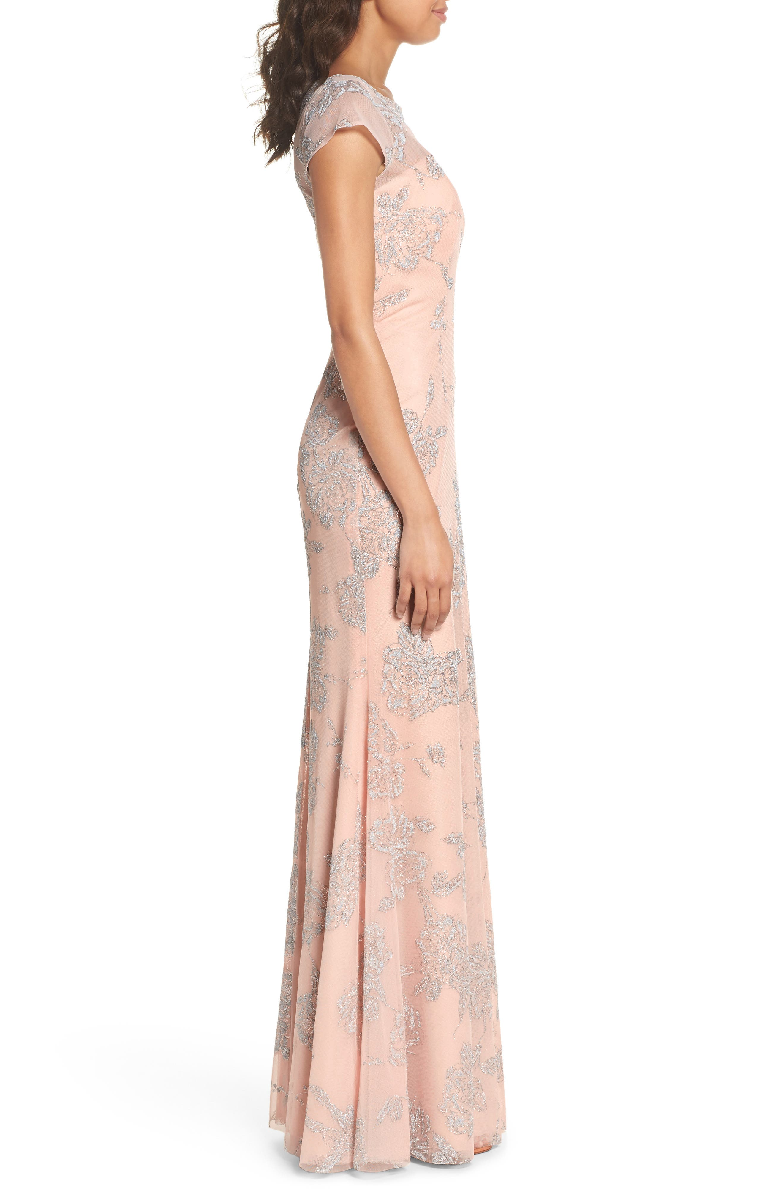 Embellished Bateau Neck Gown,                             Alternate thumbnail 3, color,                             Almond