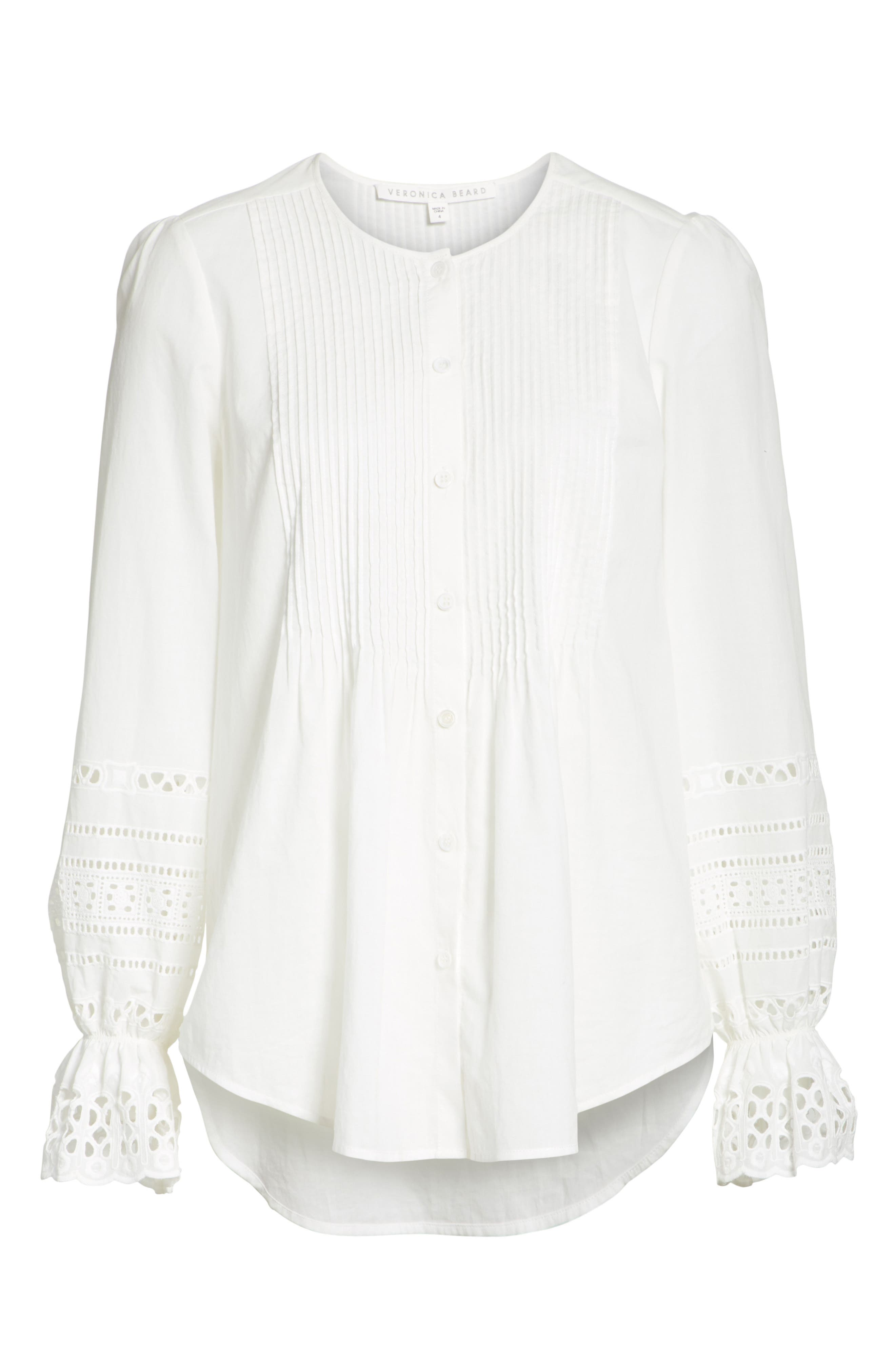 Mili Eyelet Sleeve Top,                             Alternate thumbnail 6, color,                             White