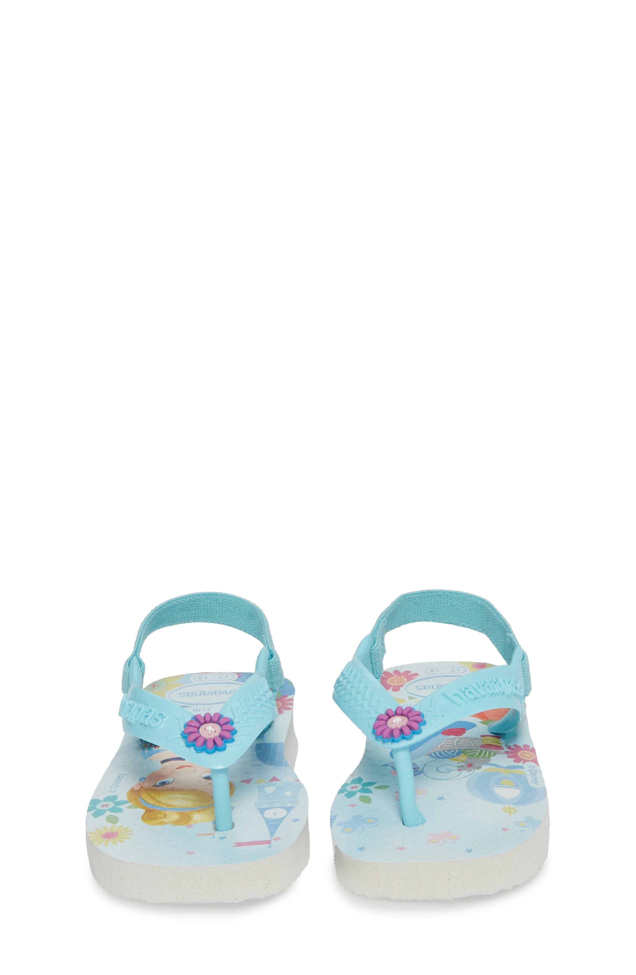 Baby Disney<sup>®</sup> Princess Flip Flop,                             Alternate thumbnail 5, color,                             White/ Ice Blue
